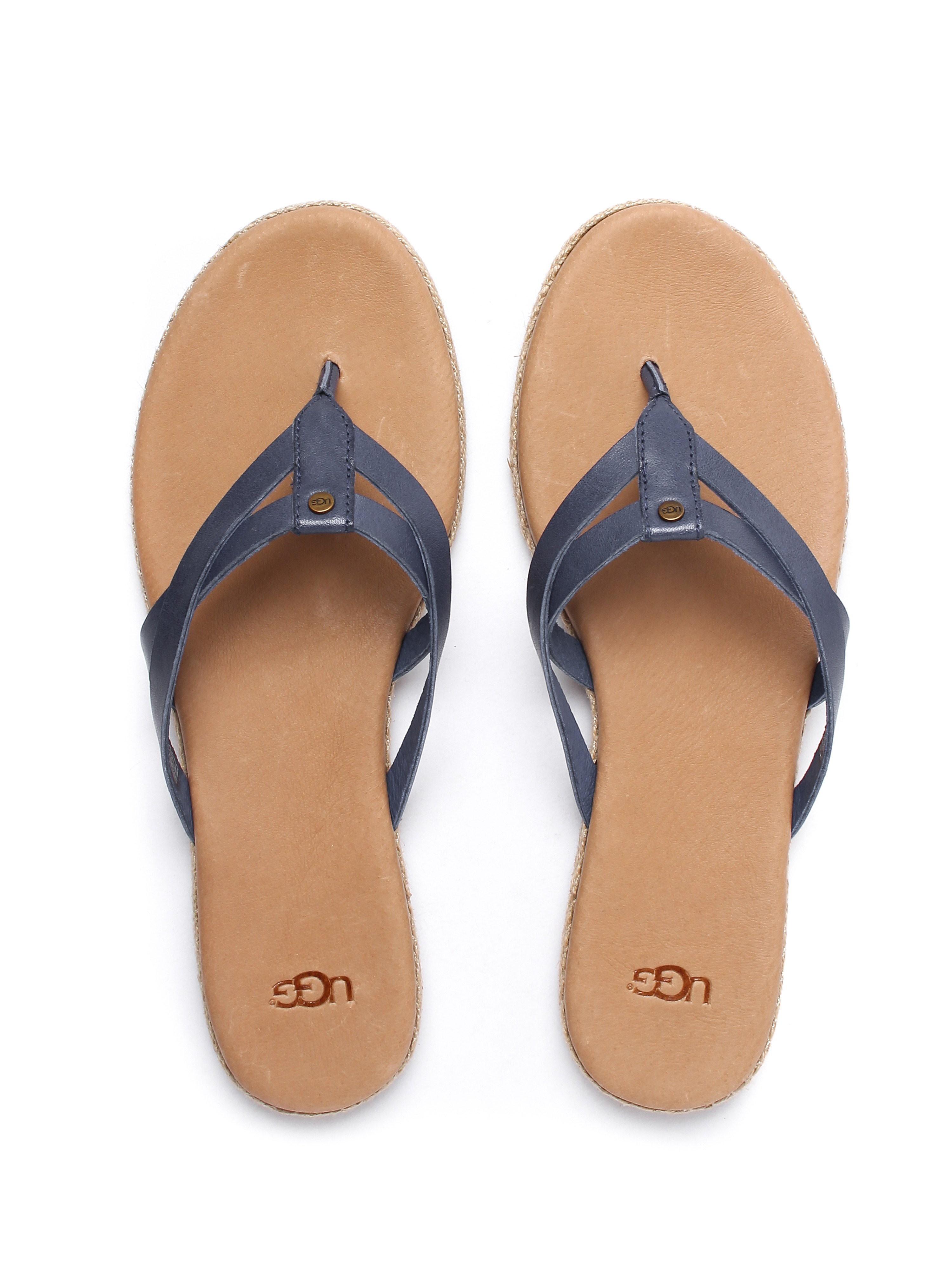 Ugg Women's Annice Leather Flip Flops - Marino