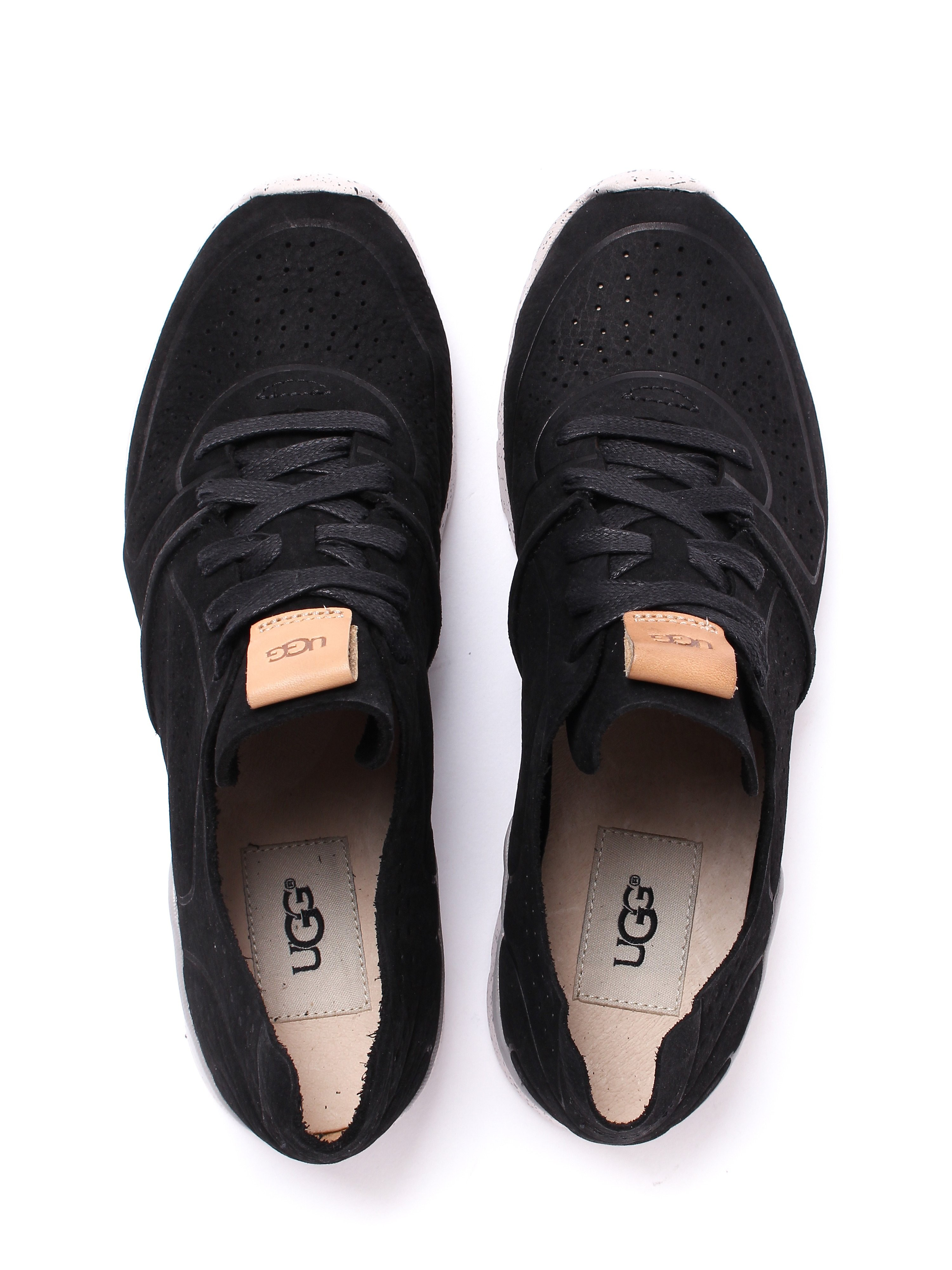 Ugg Women's Tye Textured Leather Trainers - Black