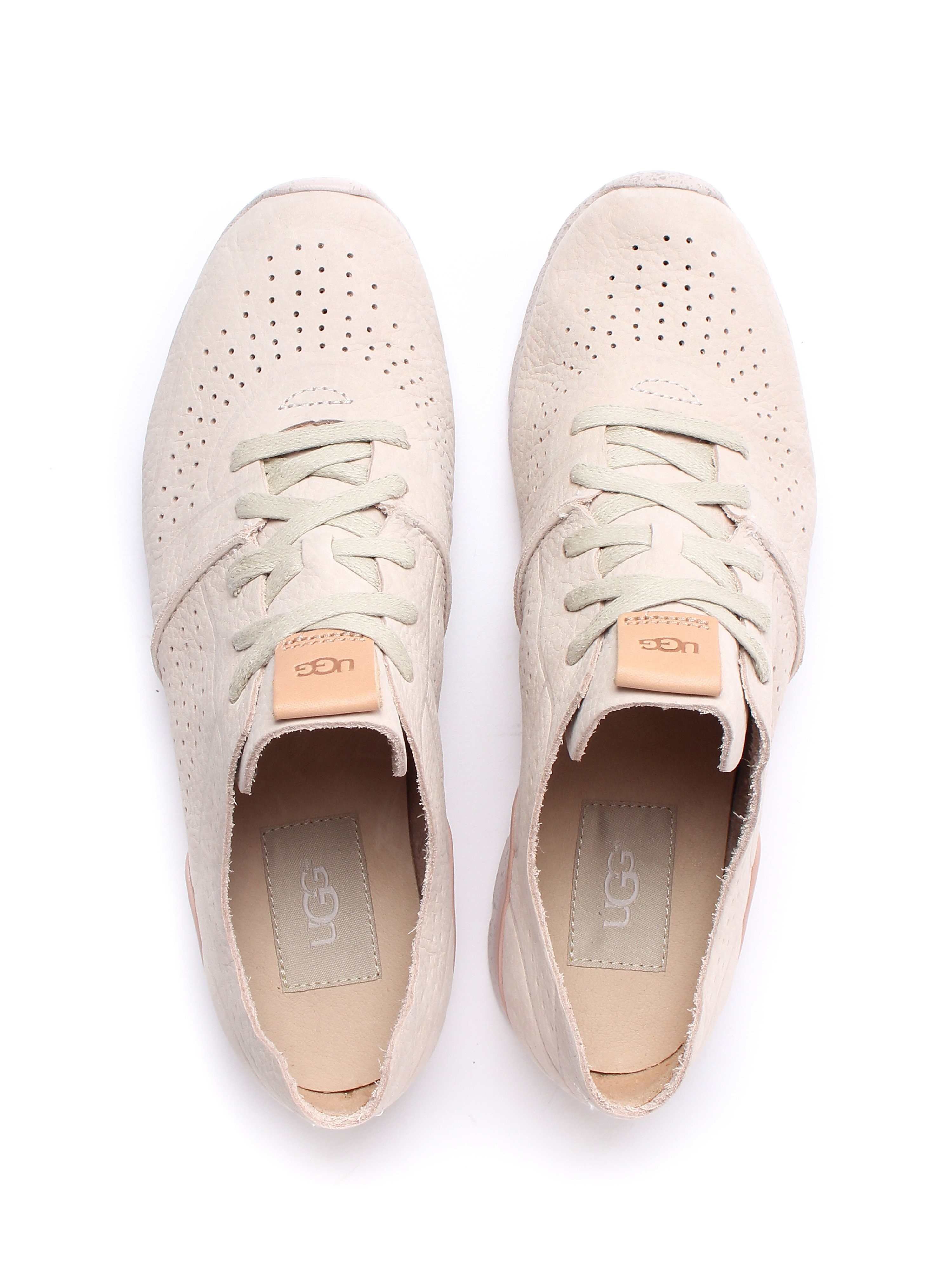 Ugg Women's Tye Textured Leather Trainers - Ceramic