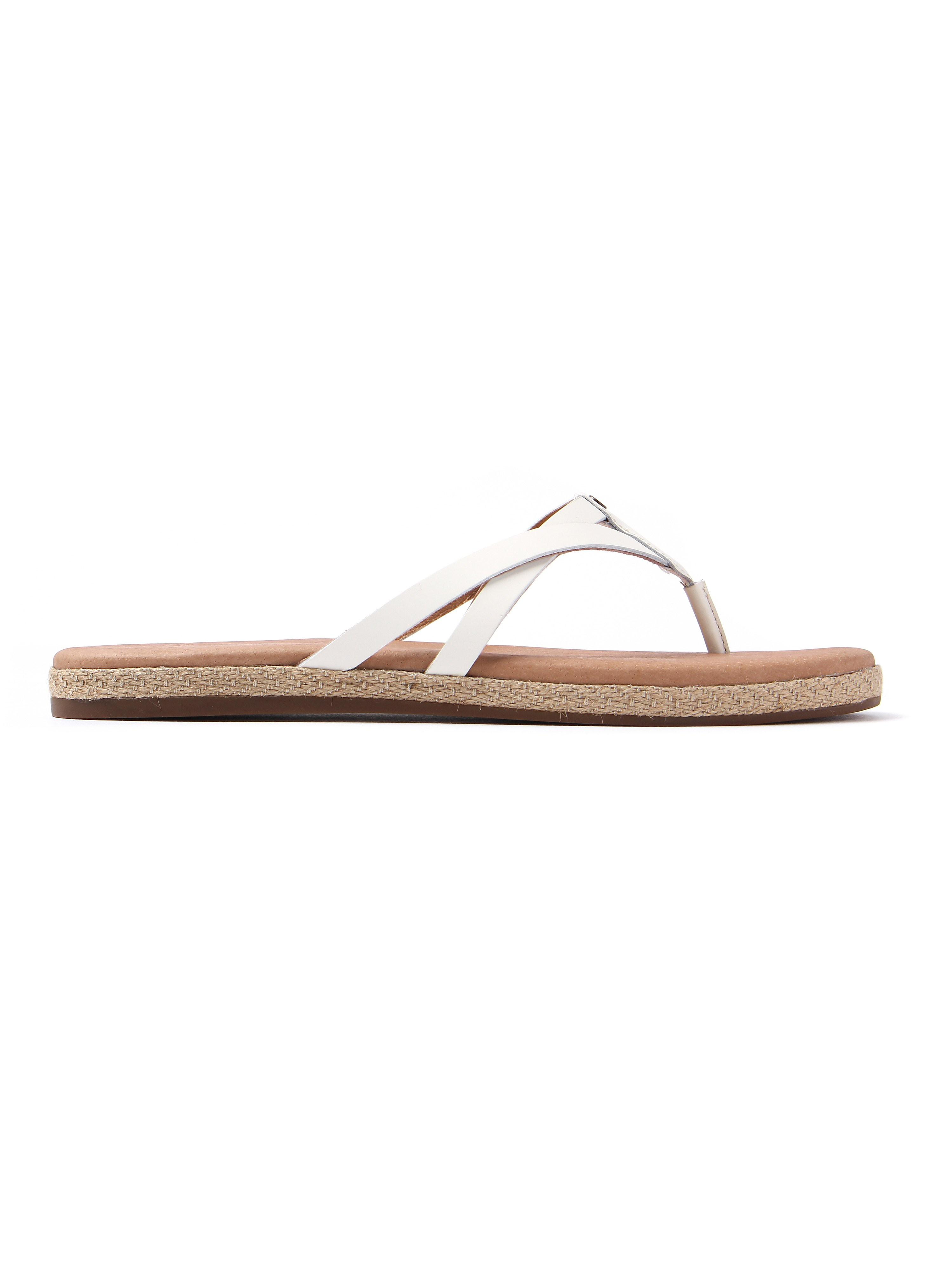 Ugg Women's Annice Leather Flip Flops - White