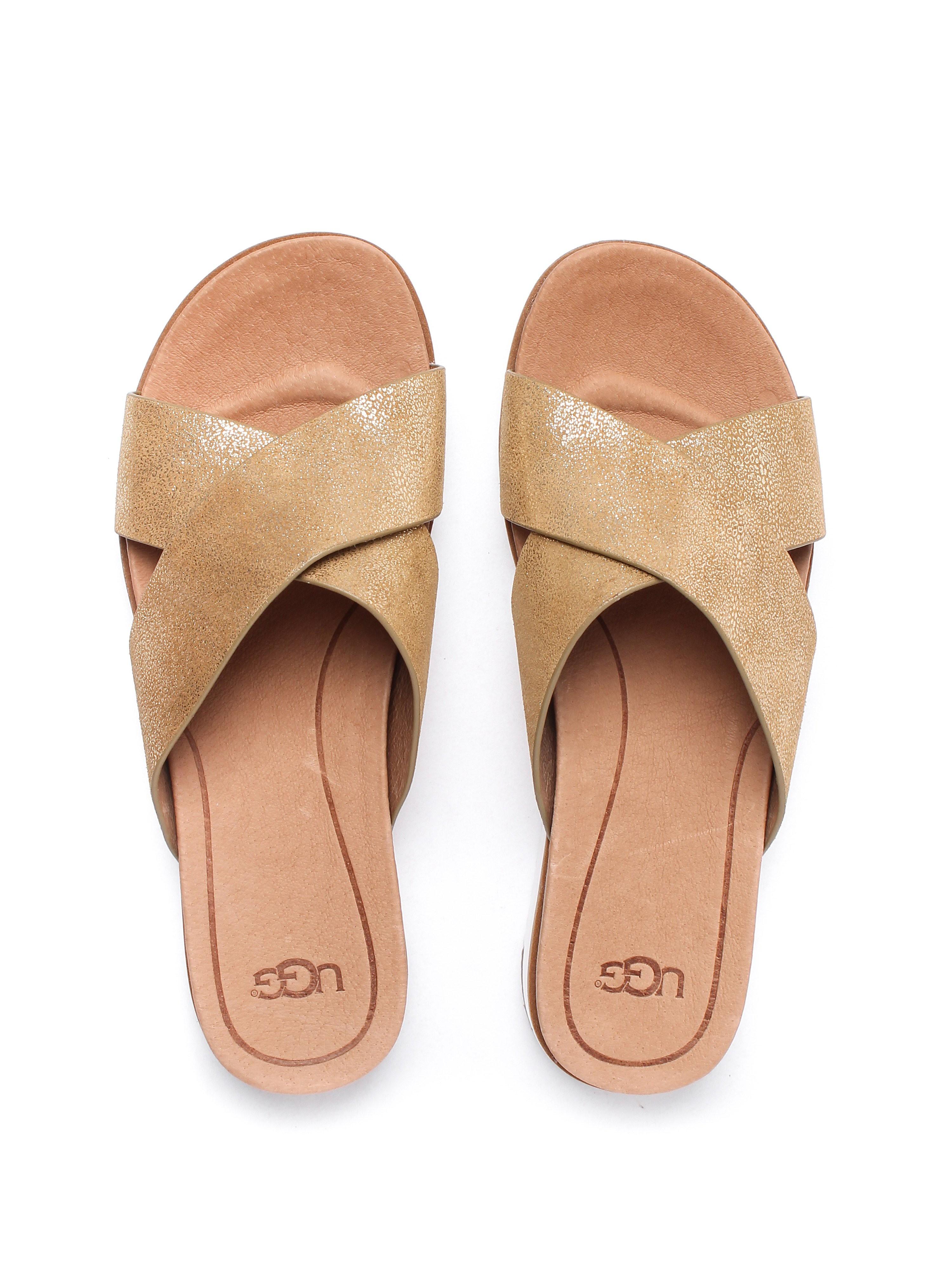 Ugg Women's Kari Metallic Suede Slide Sandals - Gold