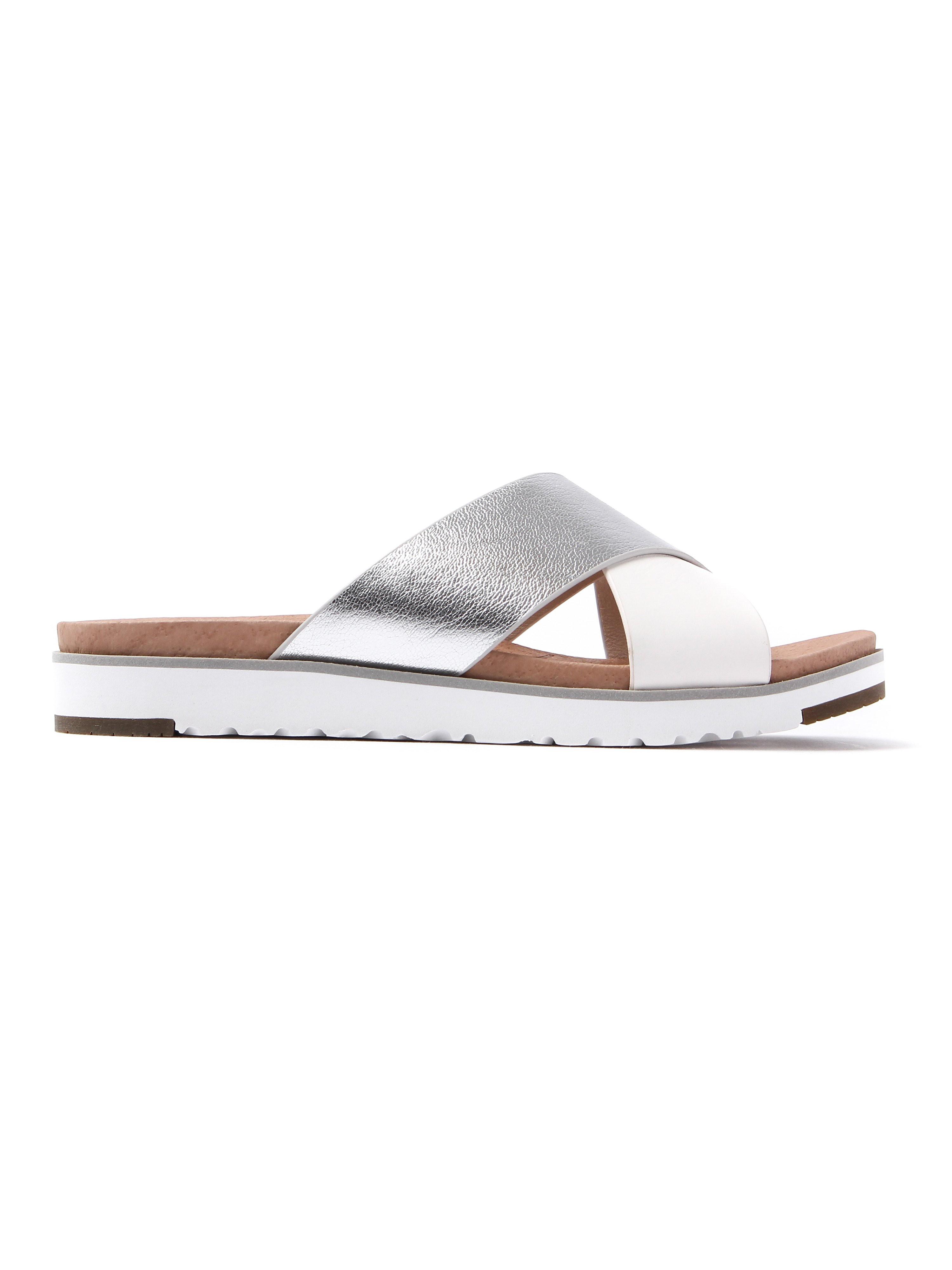 Ugg Women's Kari Metallic Leather Slide Sandals - Silver & White