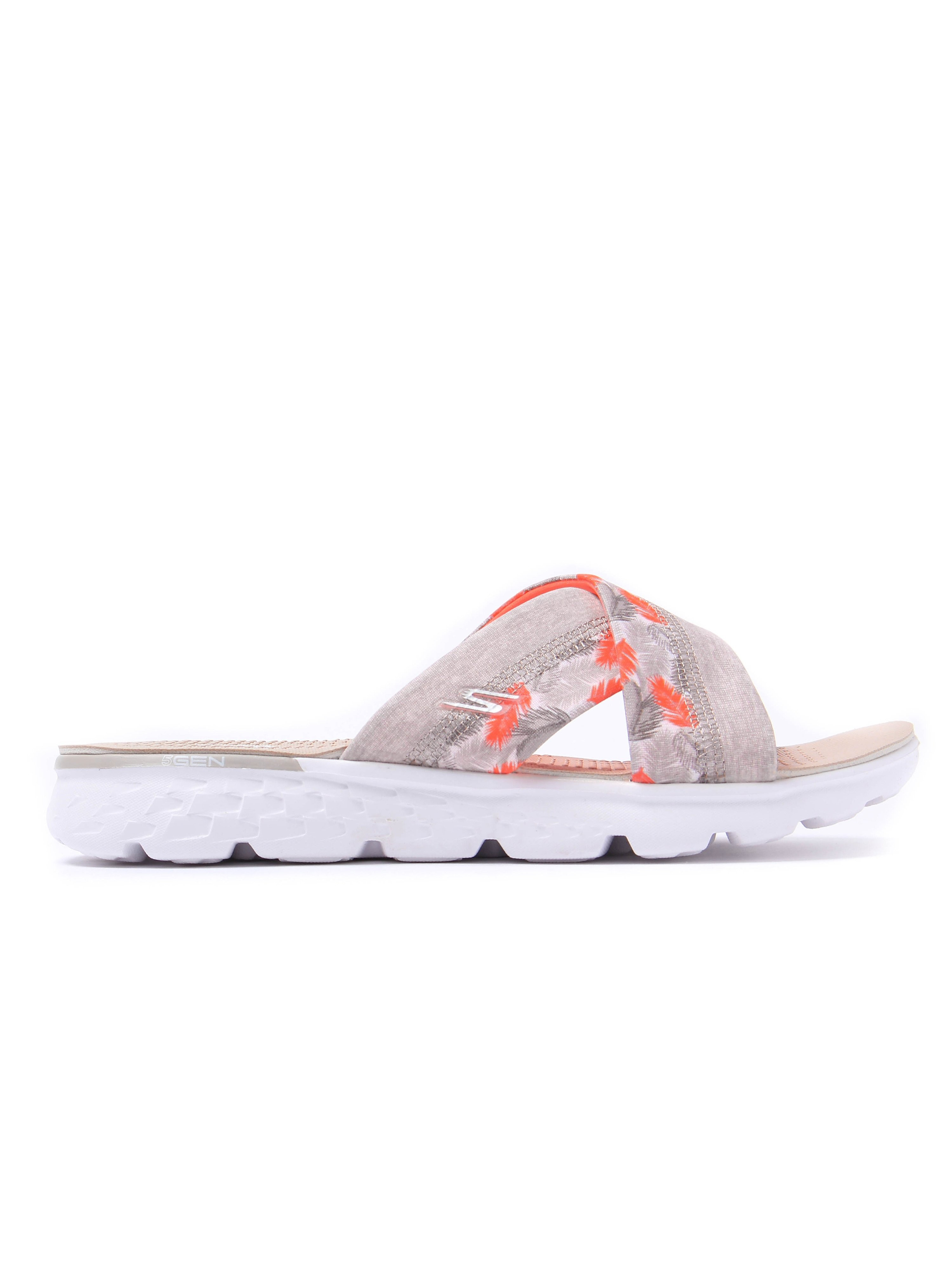 Skechers Women's On-The-Go 400 Tropical Print Slip-On Sandals - Natural & Coral