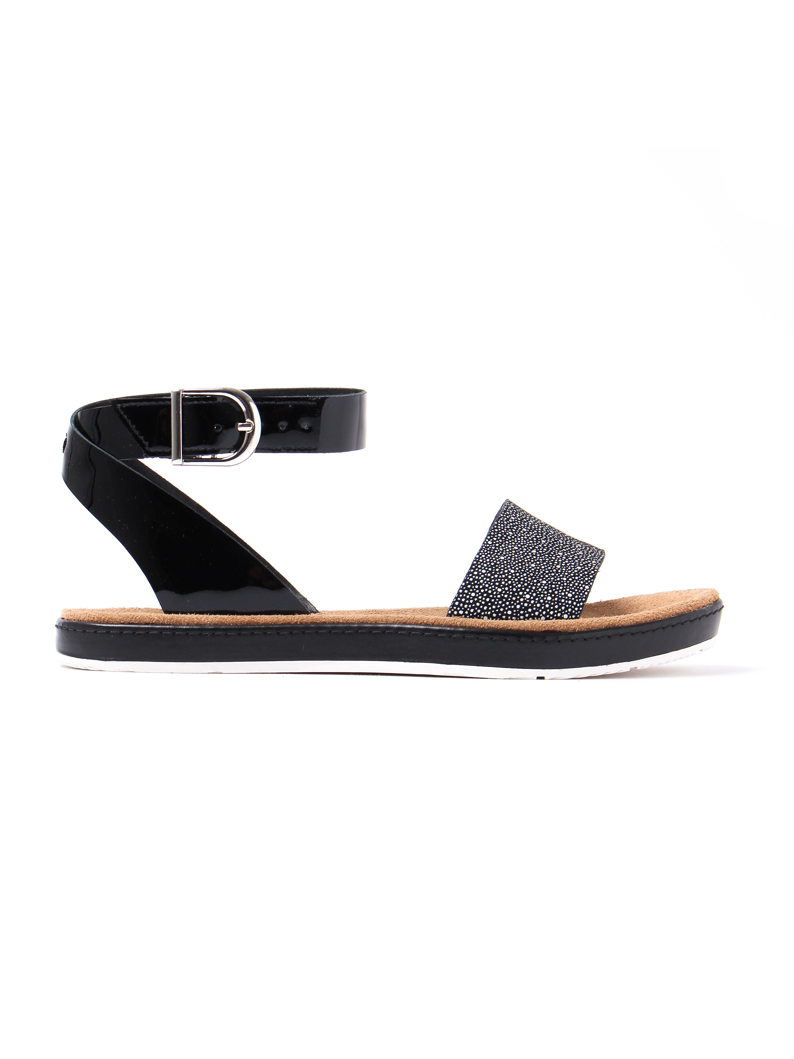 Clarks Women's Romantic Moon Combi Leather Sandals - Black