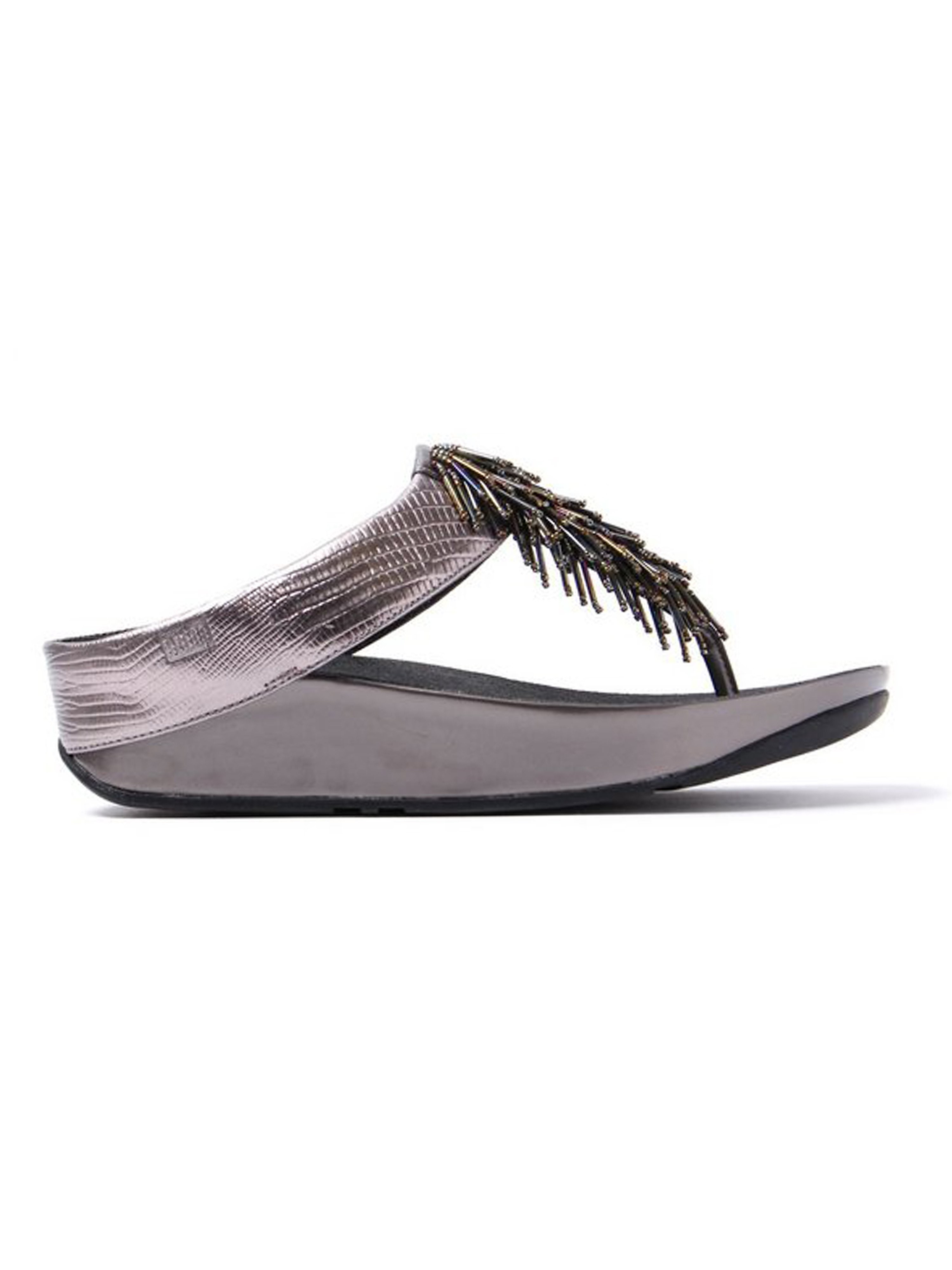 FitFlop Women's Cha Cha Leather Beaded Toe-Post Sandals - Nimbus Silver
