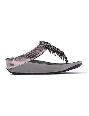 c62e19c6695cb FitFlop Women s Cha Cha Leather Beaded Toe-Post Sandals - Nimbus Silver ...