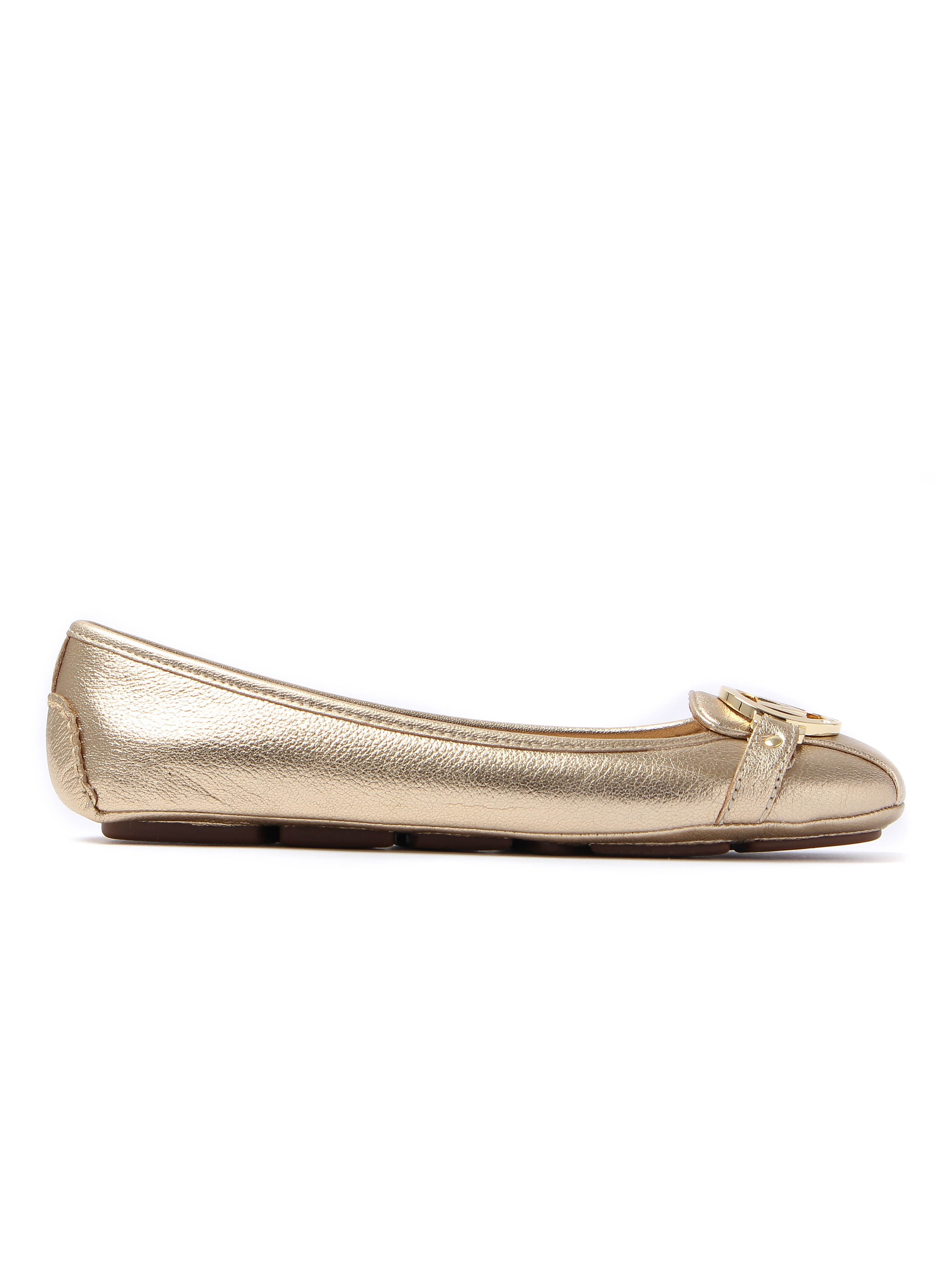 MICHAEL Michael Kors Women's Fulton Moc Metallic Leather Ballerinas - Pale Gold