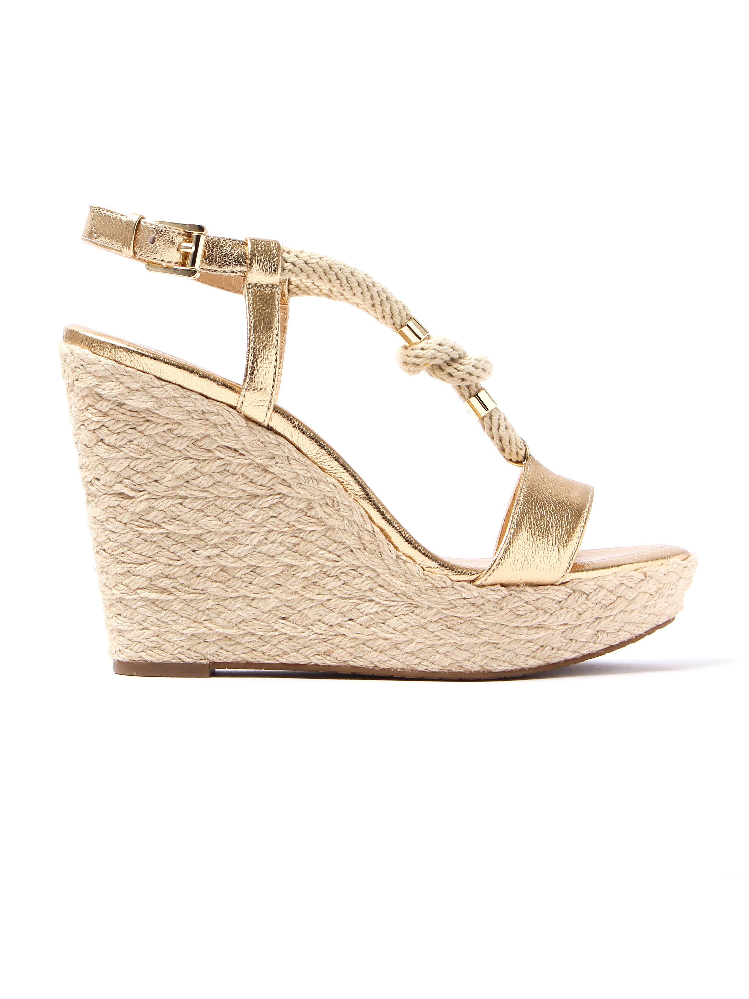 MICHAEL Michael Kors Women's Holly Rope-Trim Wedge Heels - Pale Gold