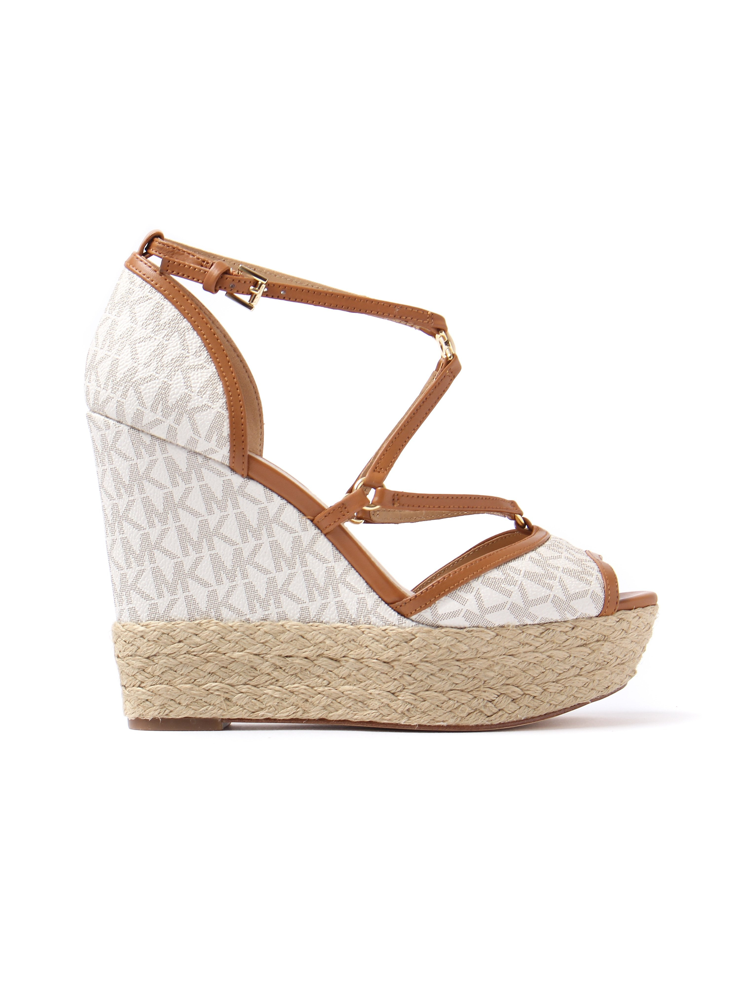MICHAEL Michael Kors Women's Terri Leather & Woven Wedge Heels - Vanilla & Acorn