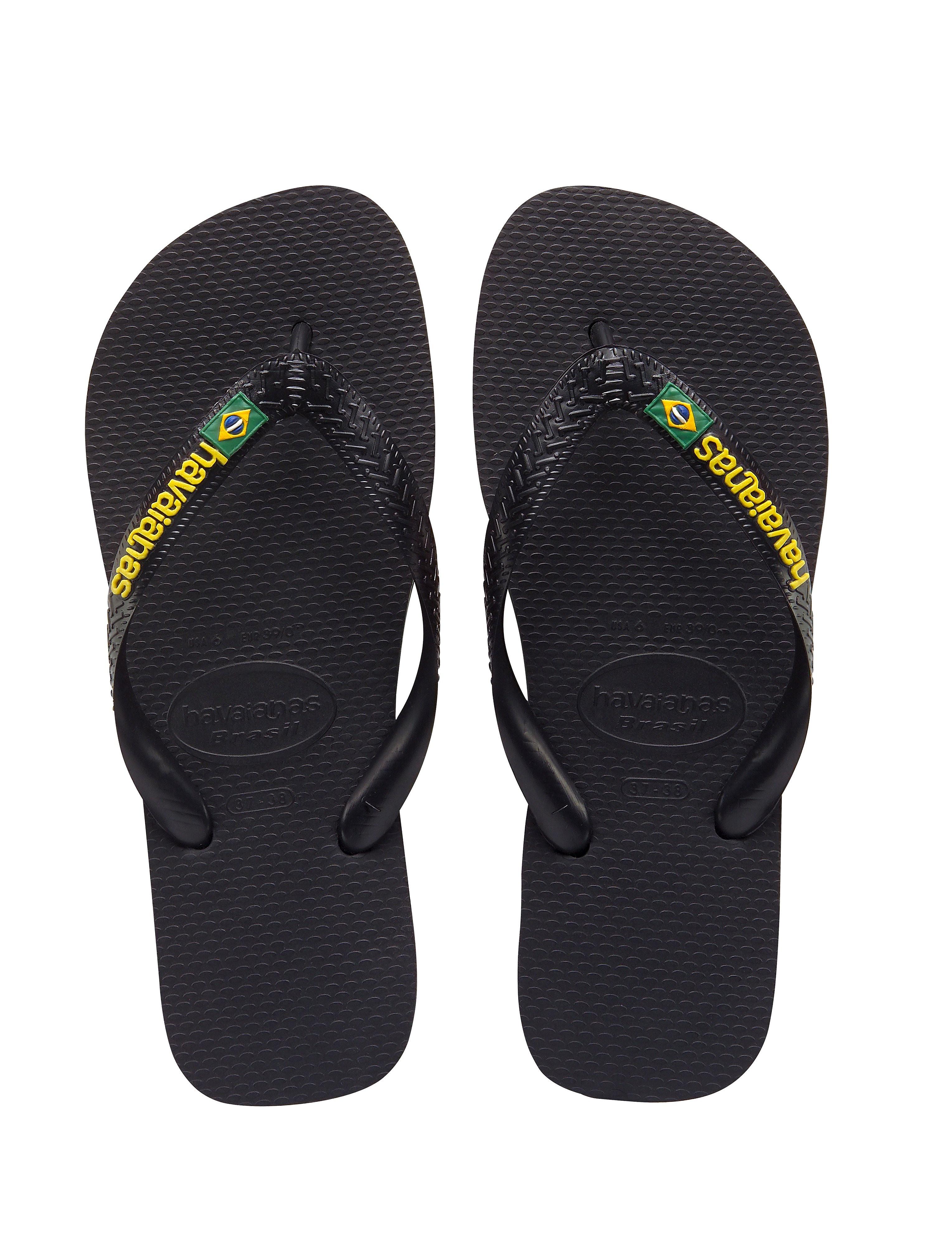 Havaianas Men's Brazil Logo Tonal Strap Flip Flops - Black