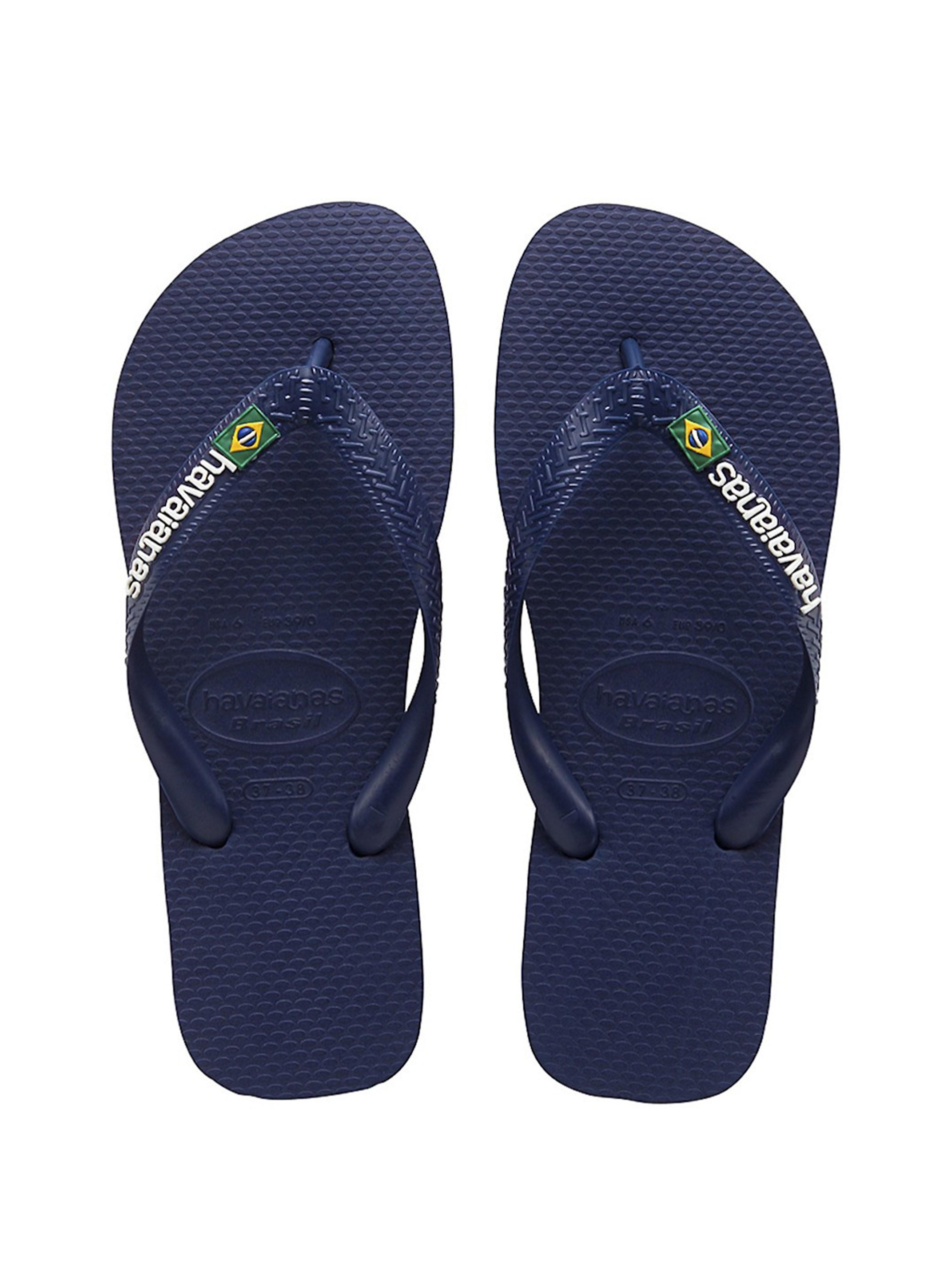 Havaianas Men's Brazil Logo Tonal Strap Flip Flops - Navy Blue