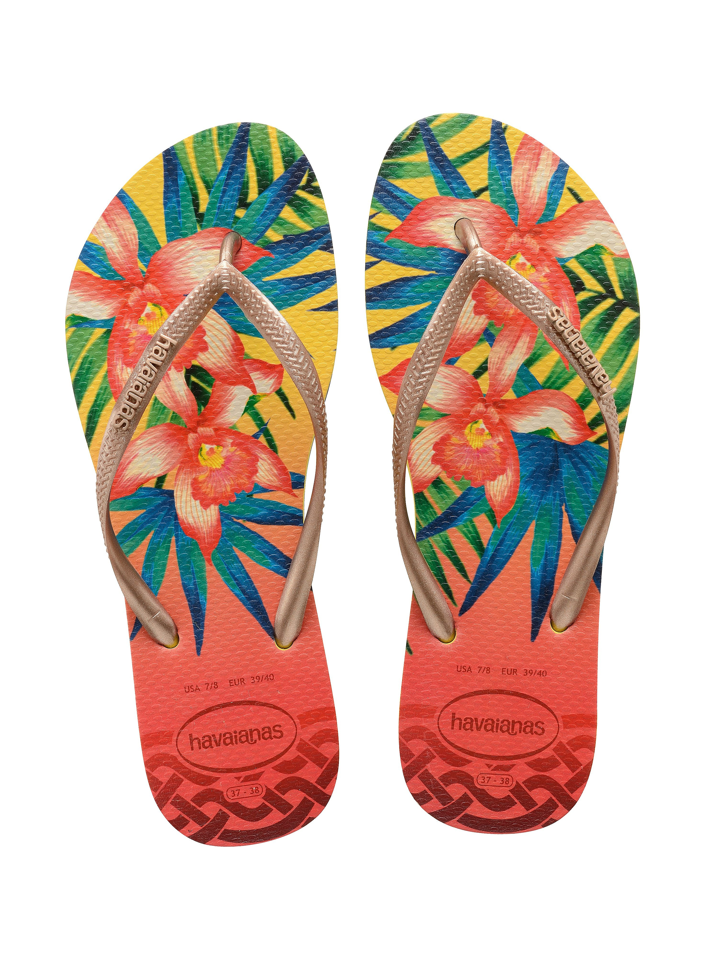Havaianas Women's Slim Tropical Flip Flops - Yellow