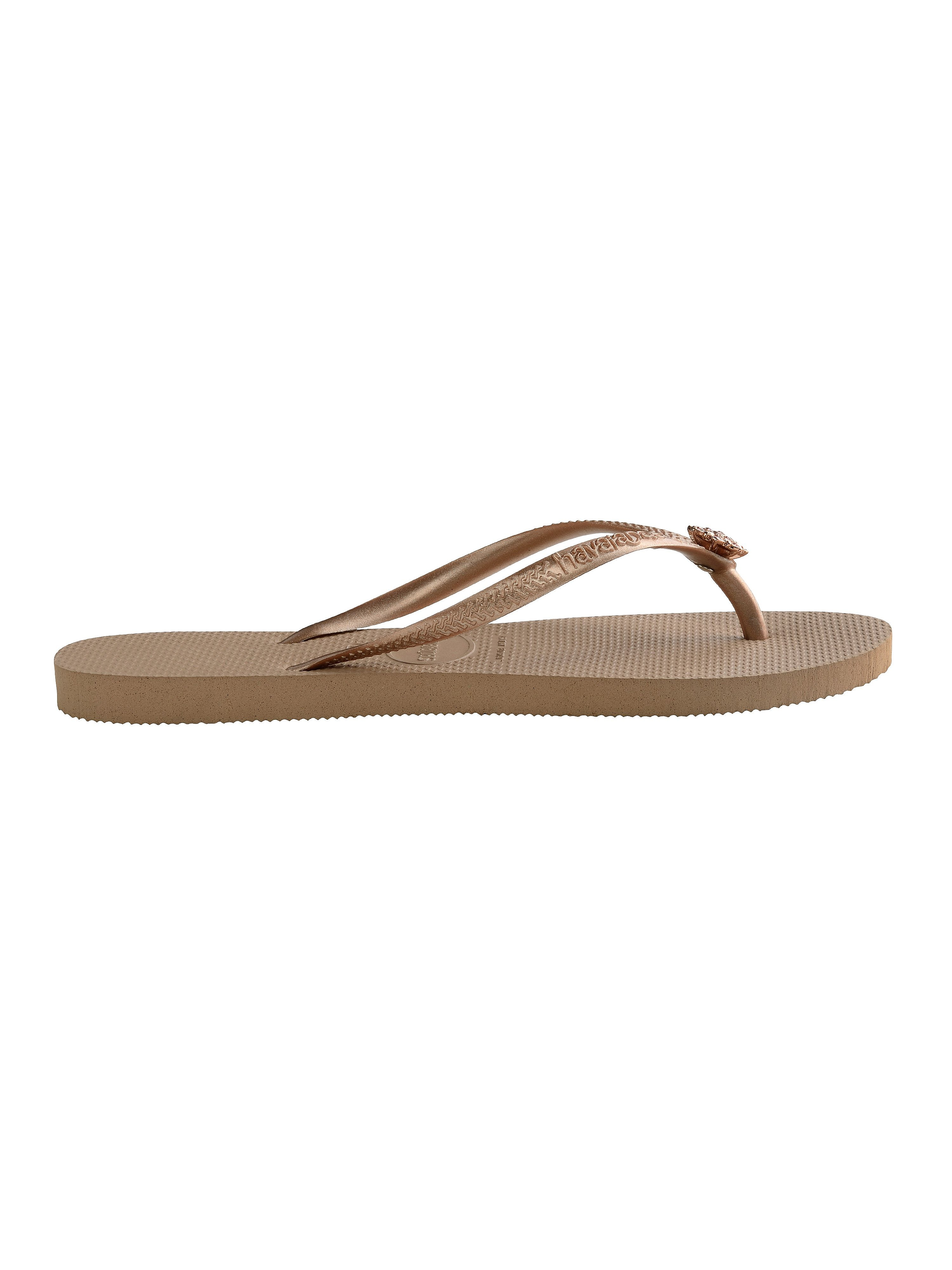 Havaianas Women's Slim Crystal Poem Flip Flops - Rose Gold