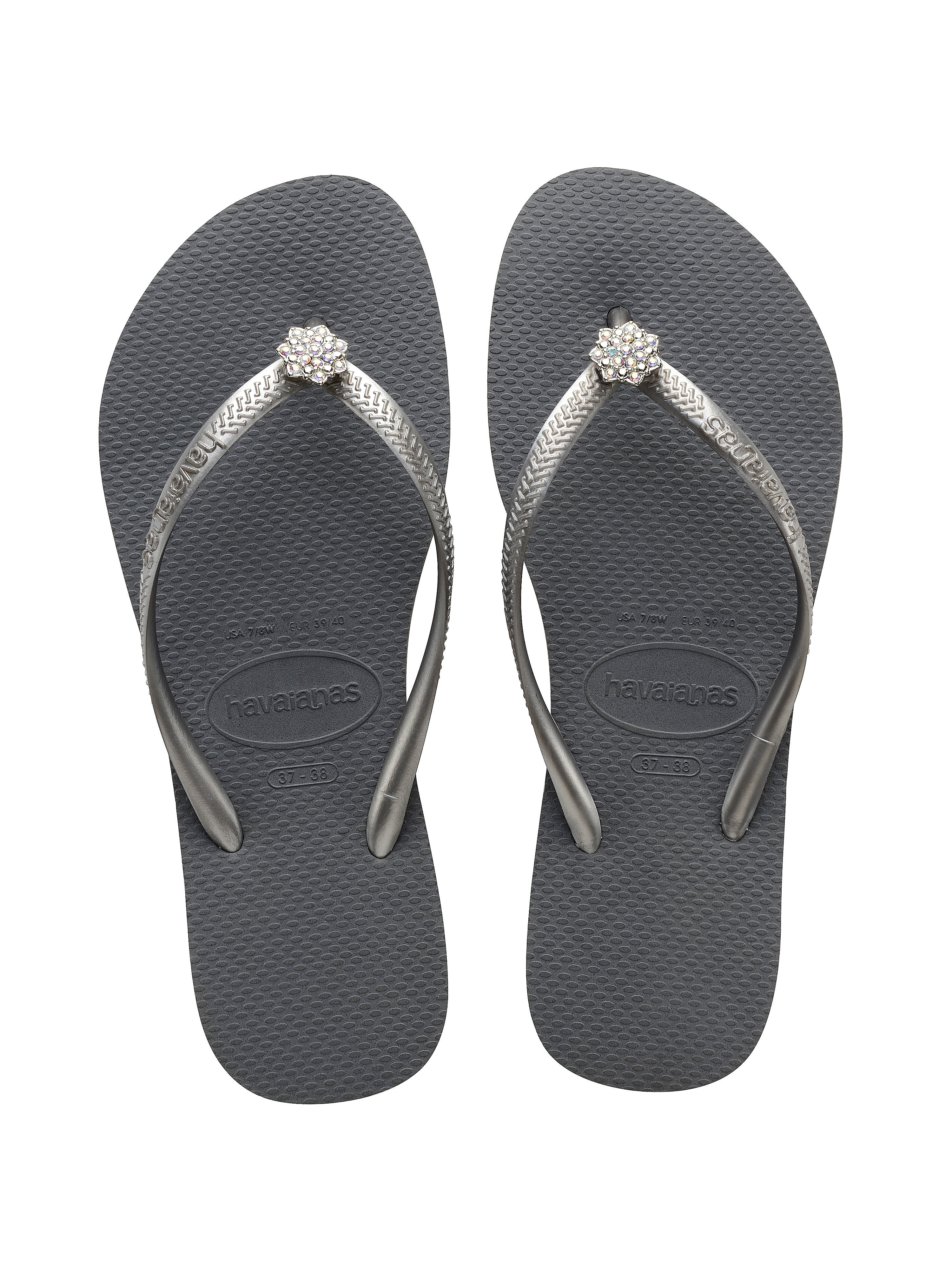 Havaianas Women's Slim Crystal Poem Flip Flops - Steel Grey