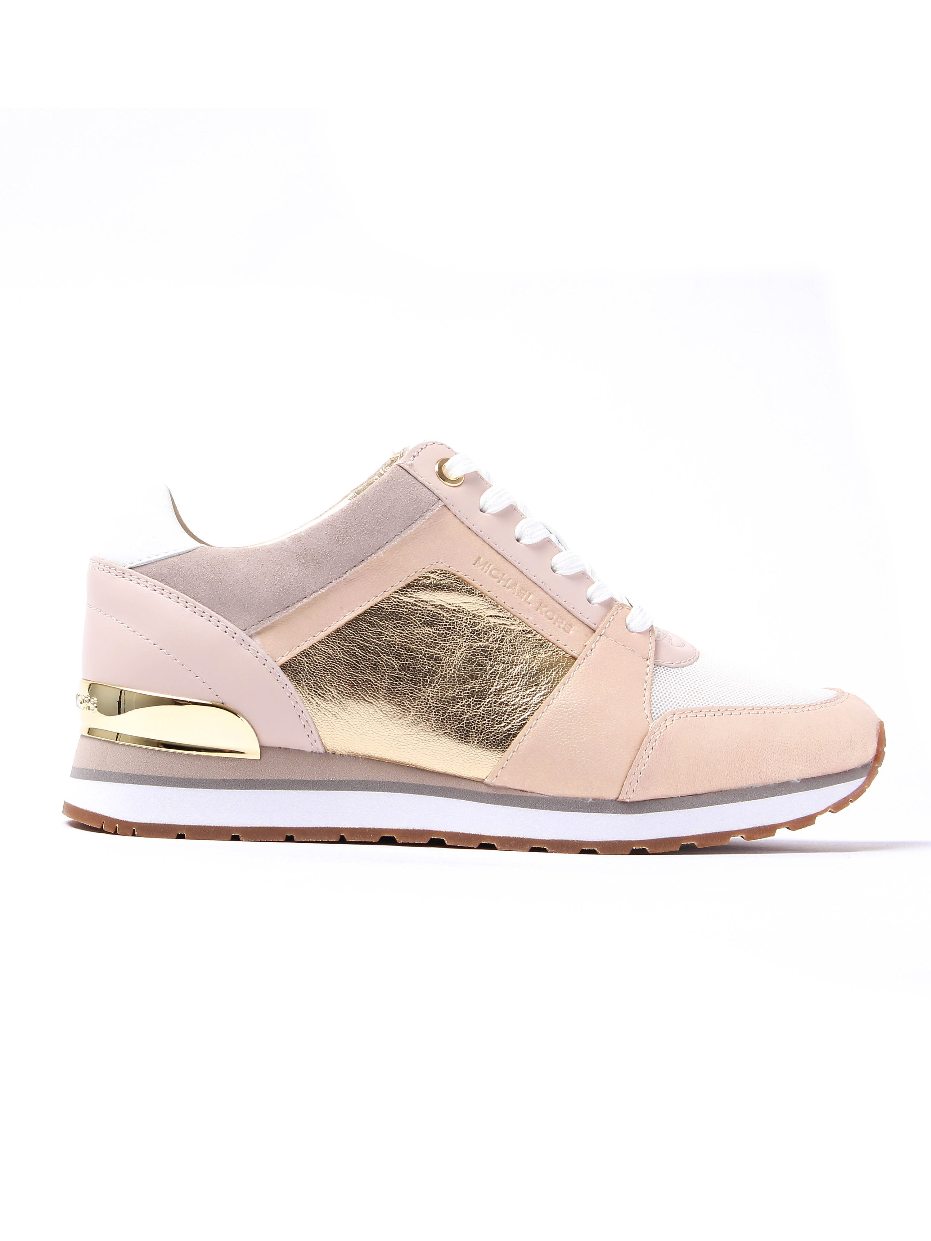 MICHAEL Michael Kors Women's Billie Metallic Leather Trainers - Pale Pink & Gold