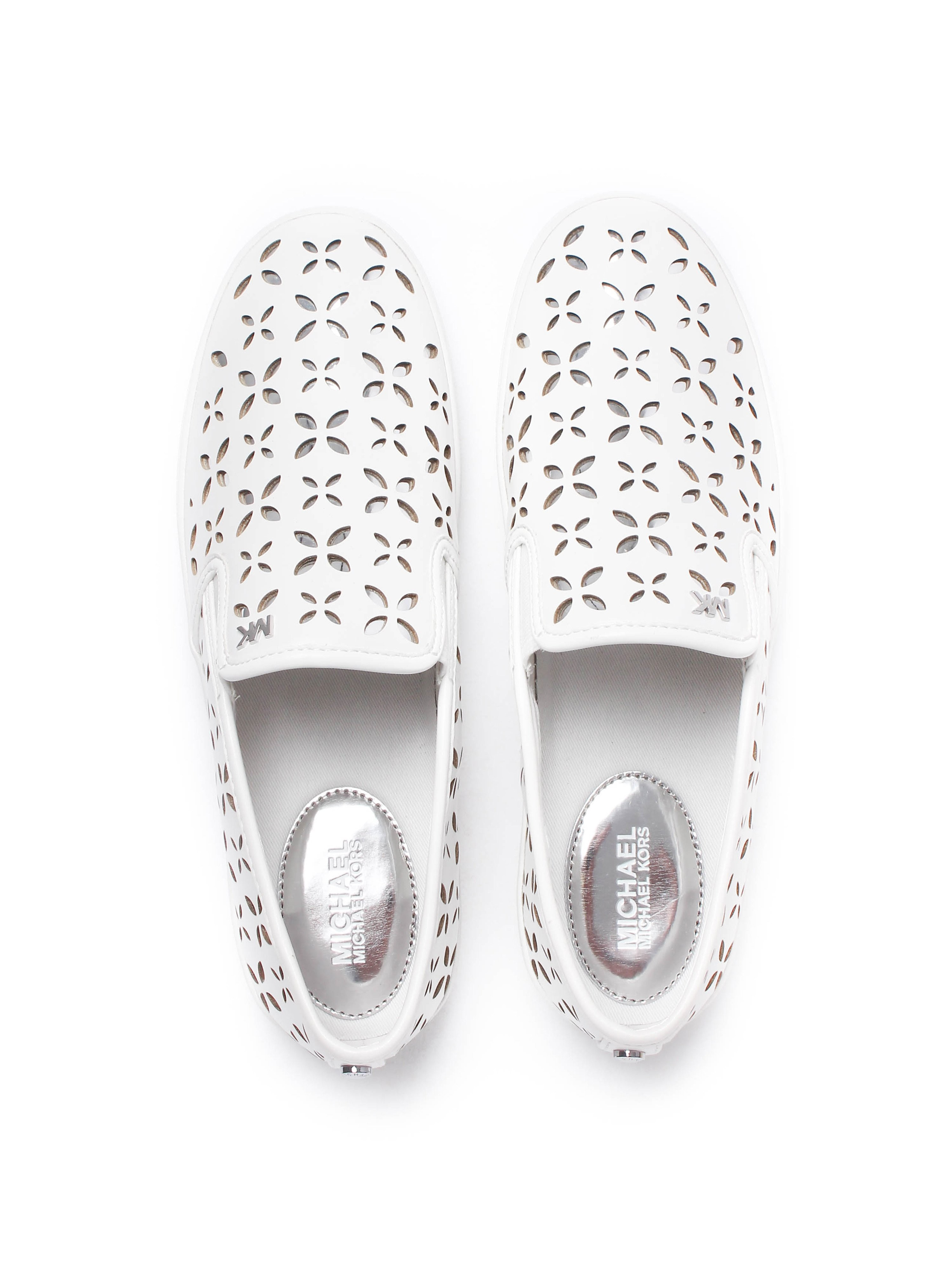 MICHAEL Michael Kors Women's Keaton Lasered Leather Slip On Trainers - Optical White & Silver