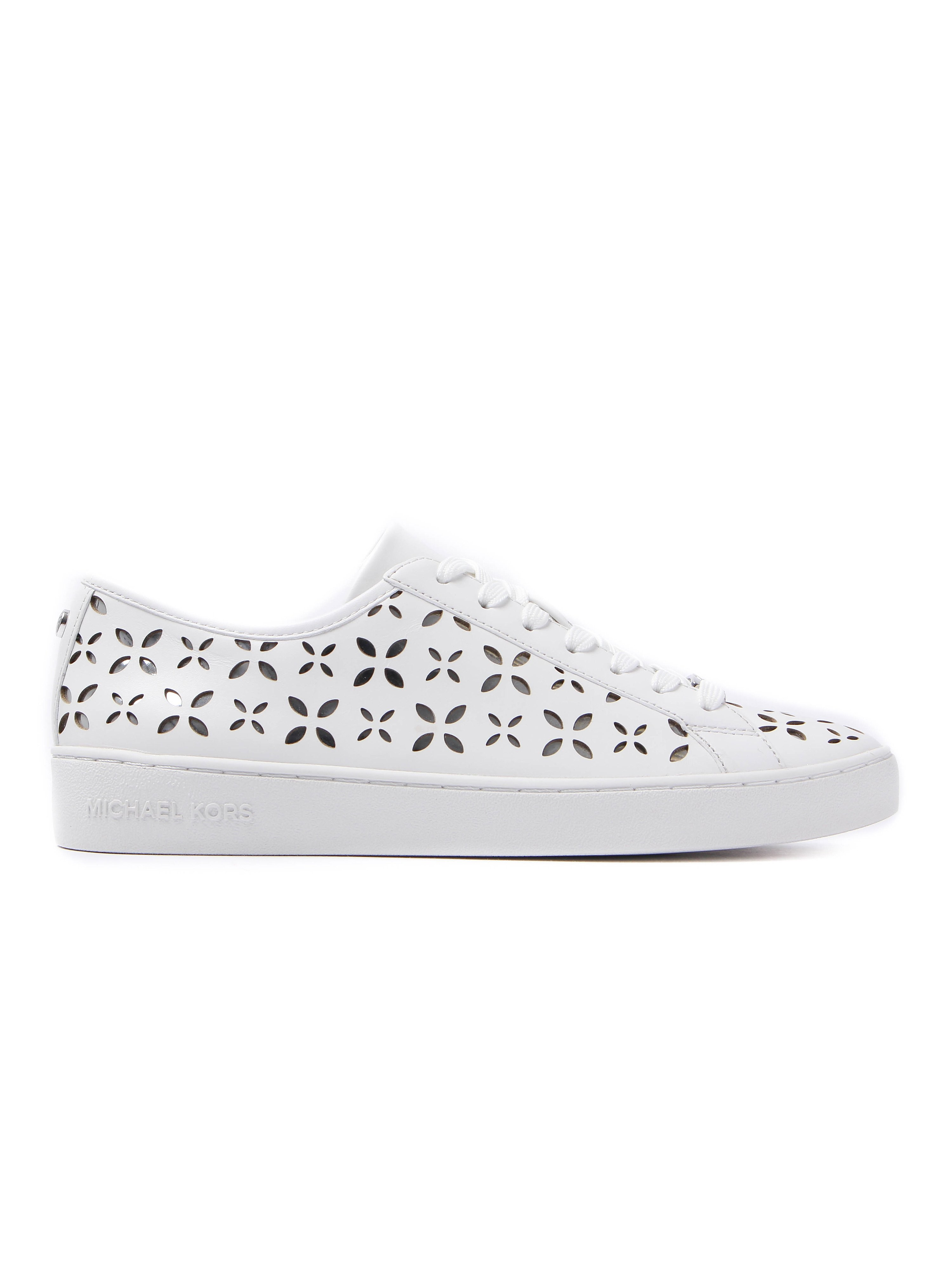 MICHAEL Michael Kors Women's Keaton Lasered Leather Trainers - Optical White & Silver