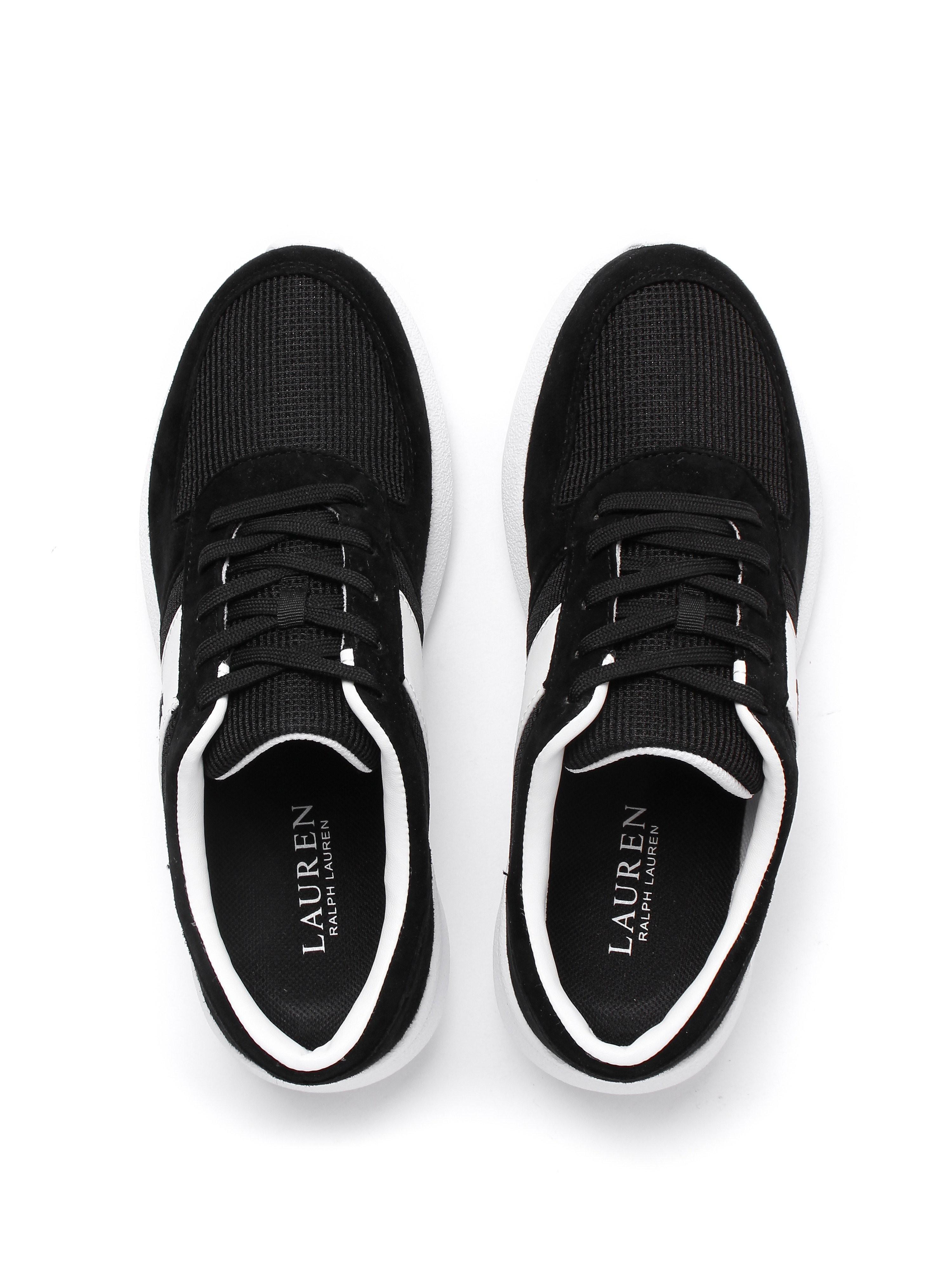 Lauren Ralph Lauren Women's Jay Suede & Mesh Athletic Trainers - Black & White