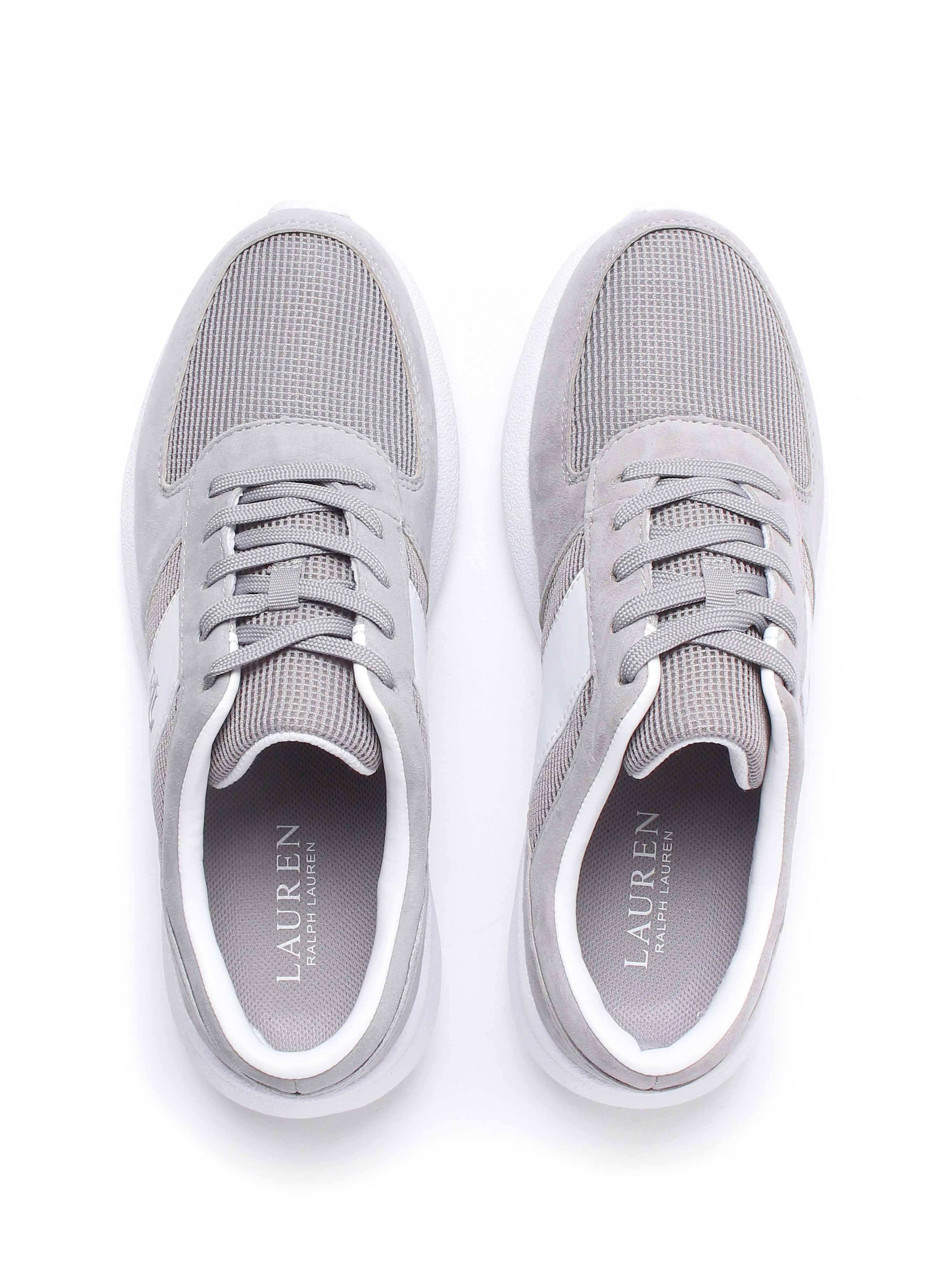 Lauren Ralph Lauren Women's Jay Suede & Mesh Athletic Trainers - Chalk Grey & White