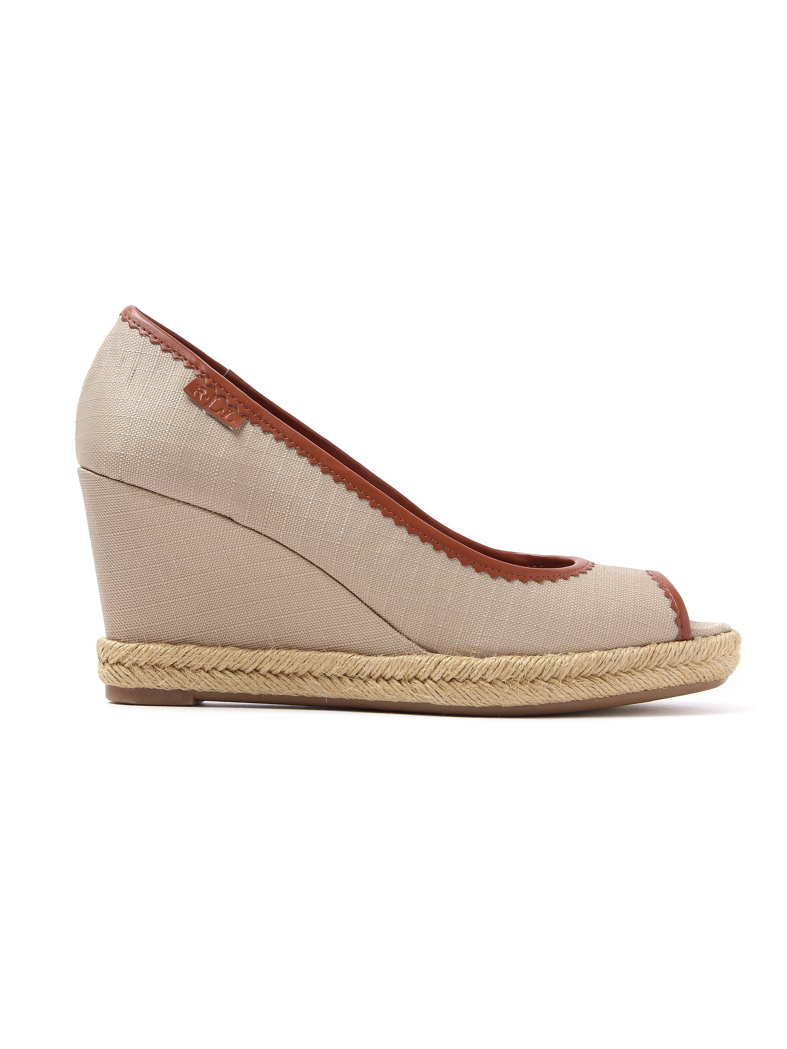 Lauren Ralph Lauren Women's Nella Canvas Peep-Toe Wedge Espadrilles - Khaki & Polo Tan