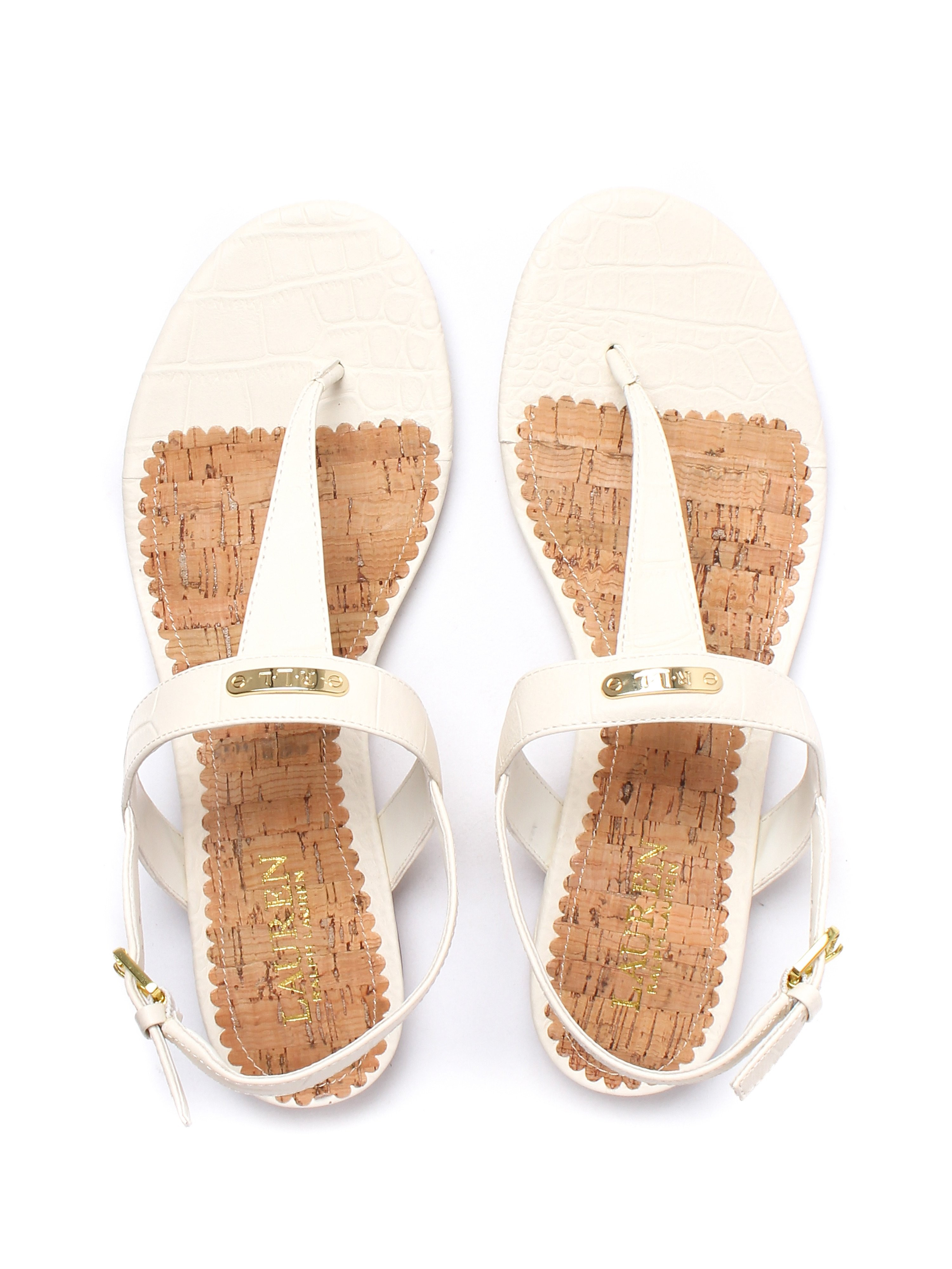 Lauren Ralph Lauren Women's Valla Crocodile Embossed Leather Sandal - Eggshell Cream
