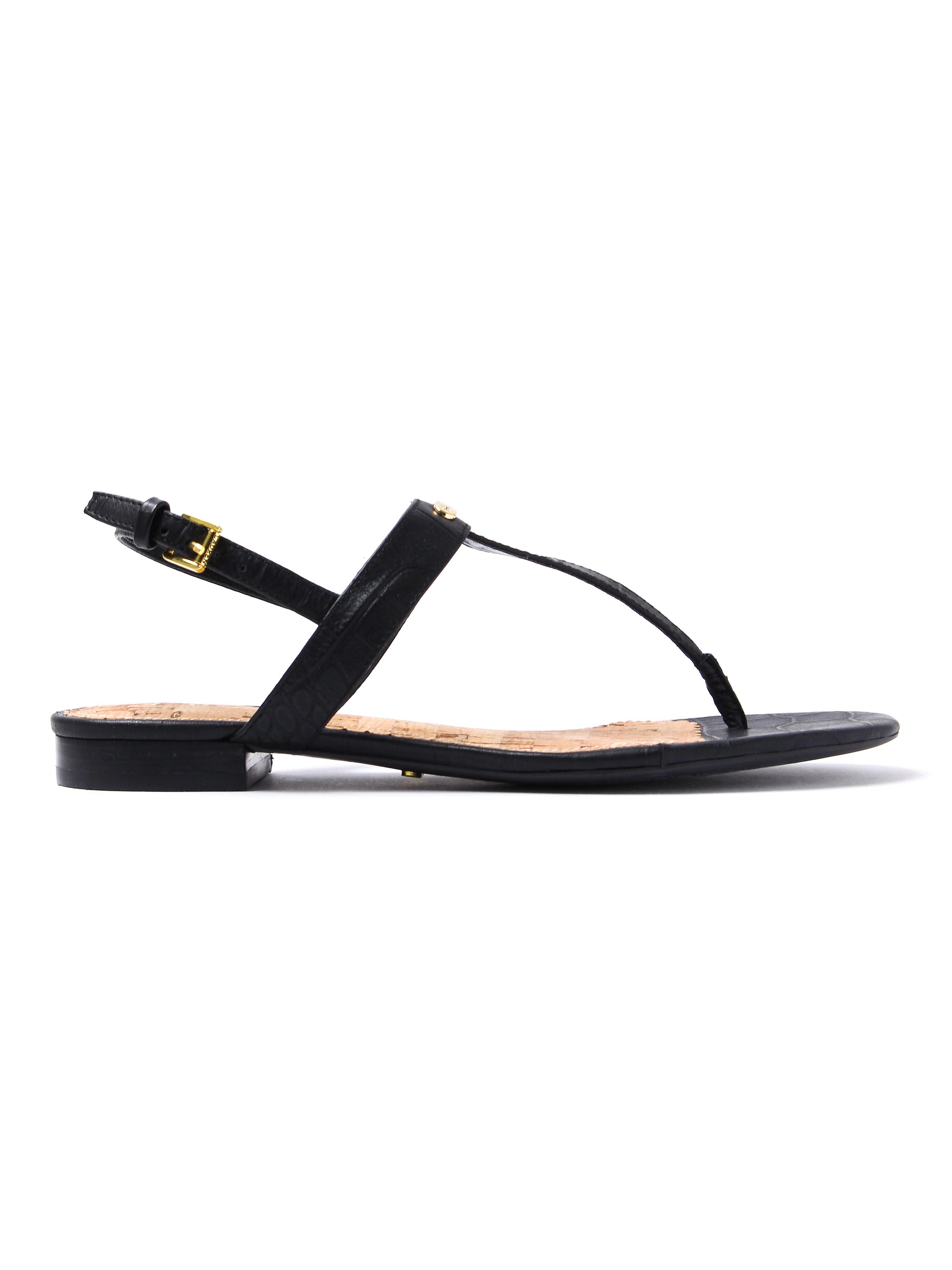 Polo Ralph Lauren Women's Valla Leather Toe Post Sandals - Black