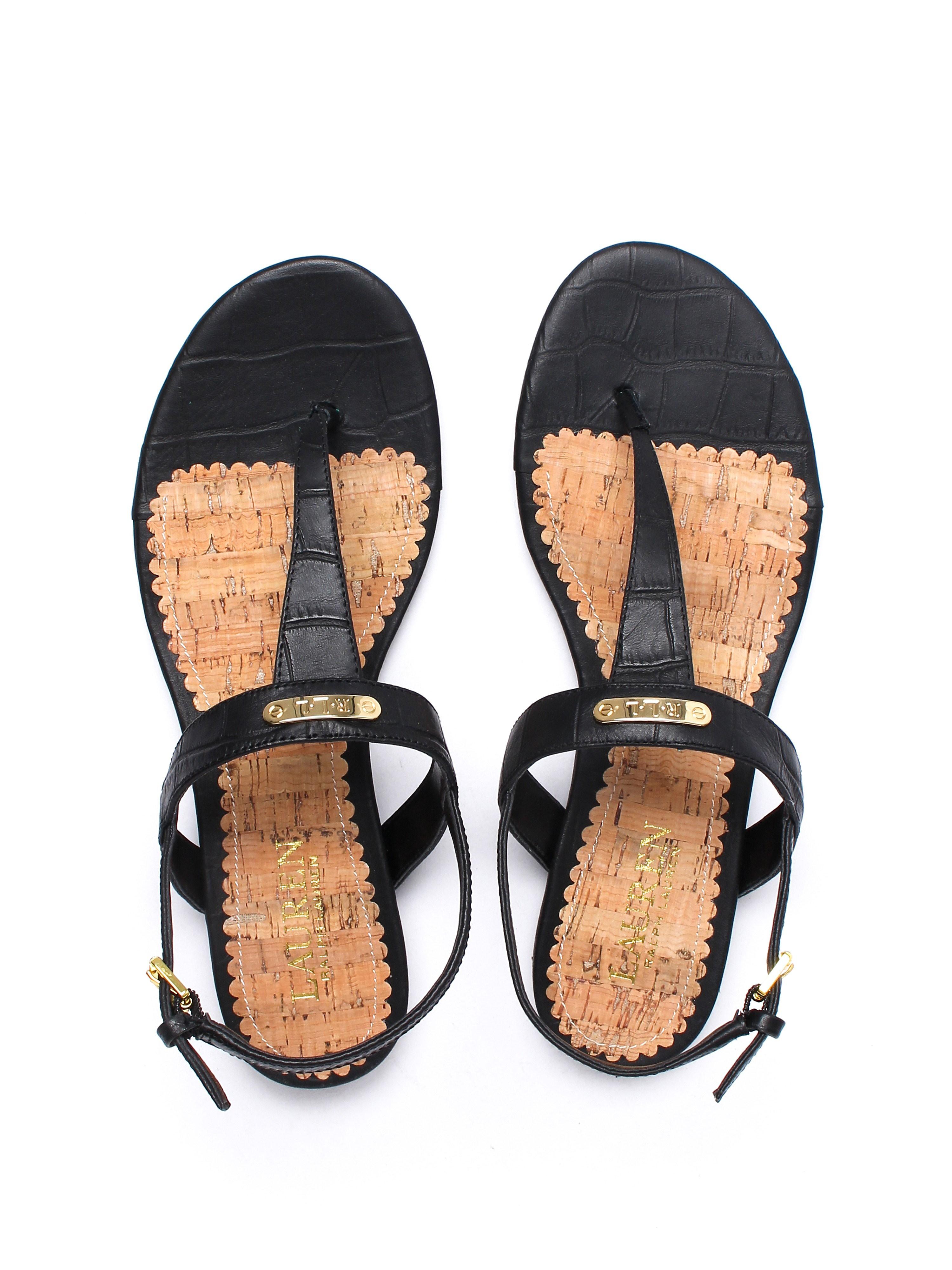 Lauren Ralph Lauren Women's Valla Leather Toe Post Sandals - Black