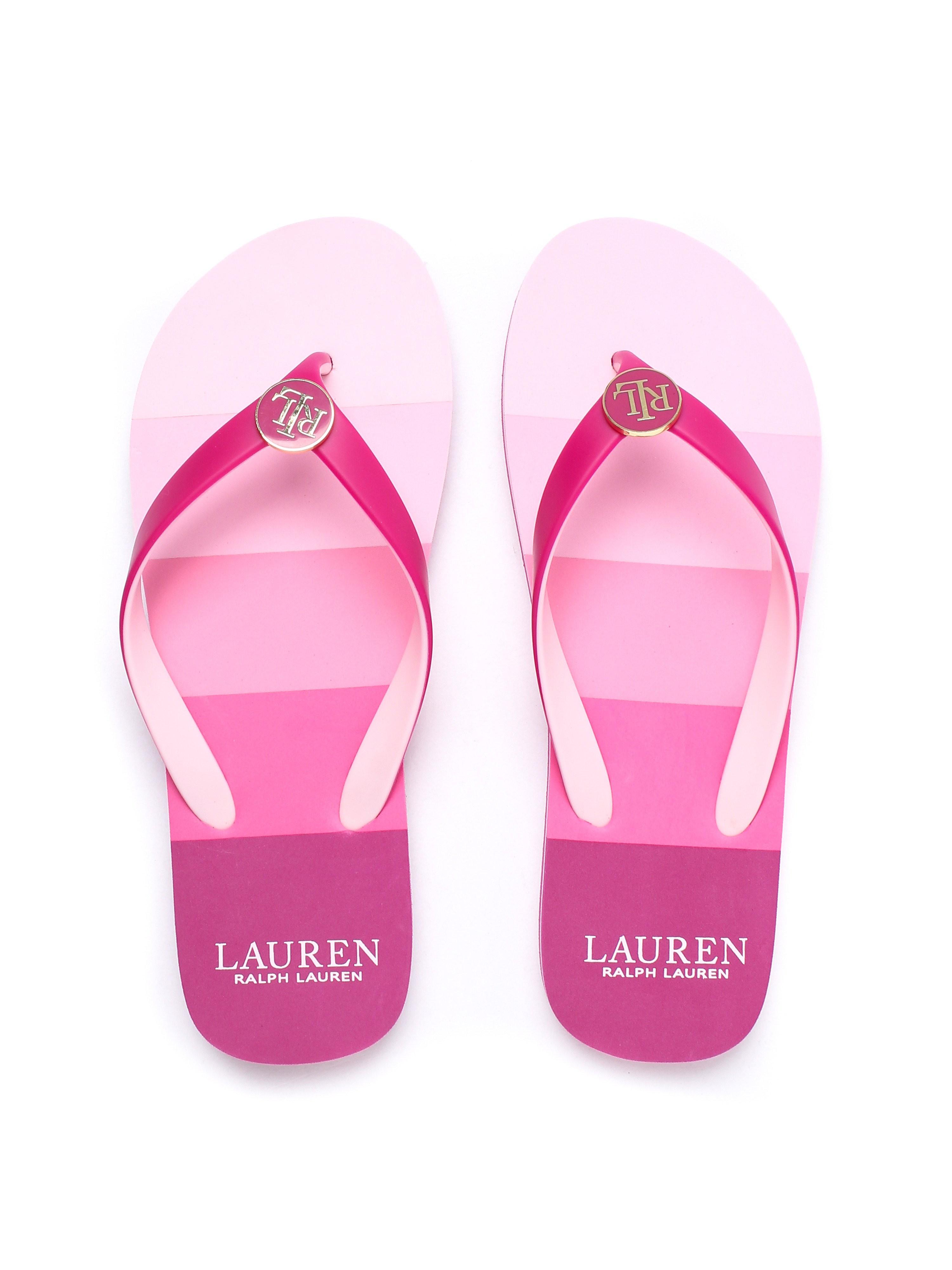 Lauren Ralph Lauren Women's Elissa Striped Flip Flops - Hot Pink