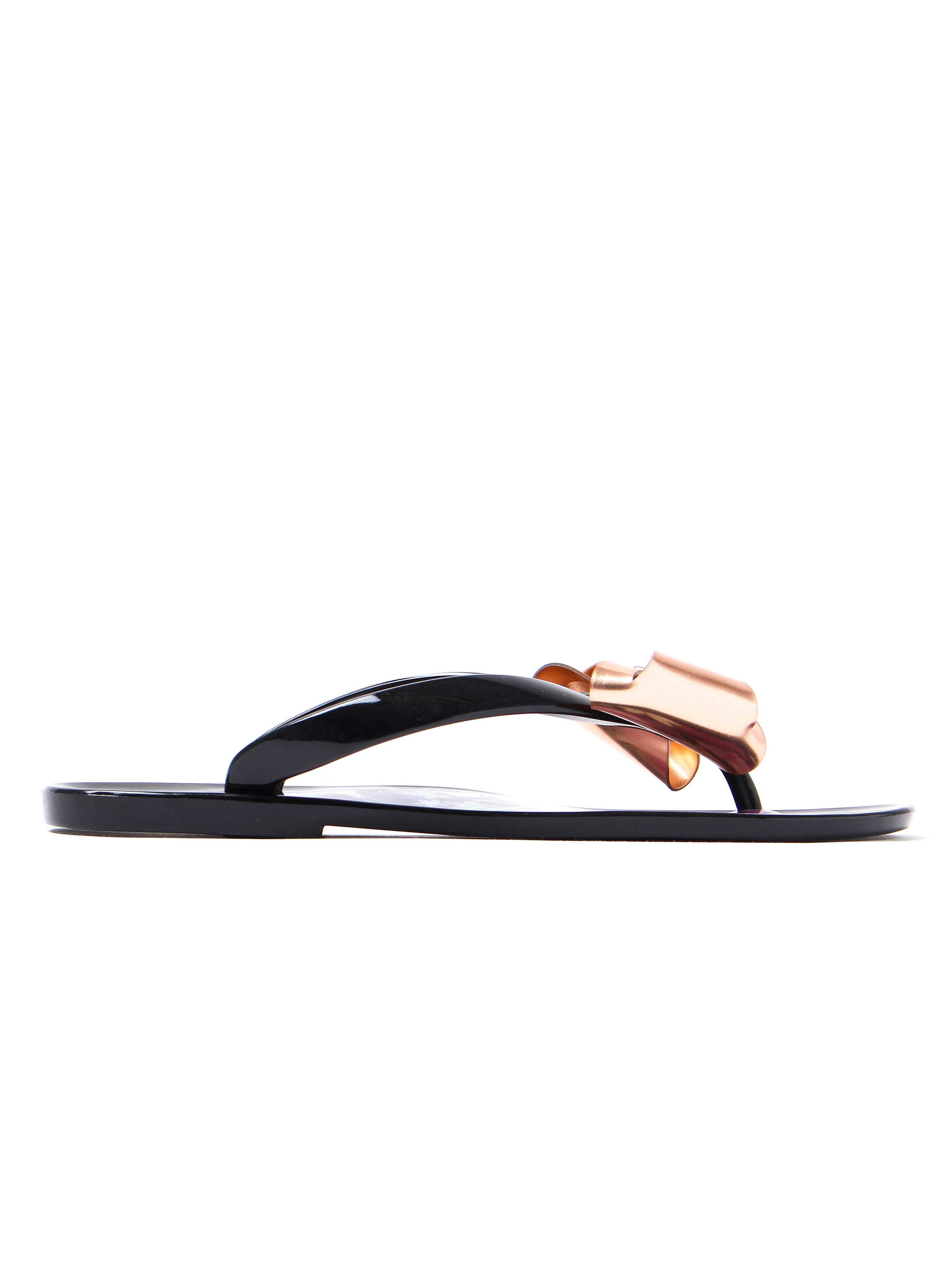 Ted Baker Rueday Oriental Bloom Jelly Bow Flip Flops - Entangled Enchantment Black