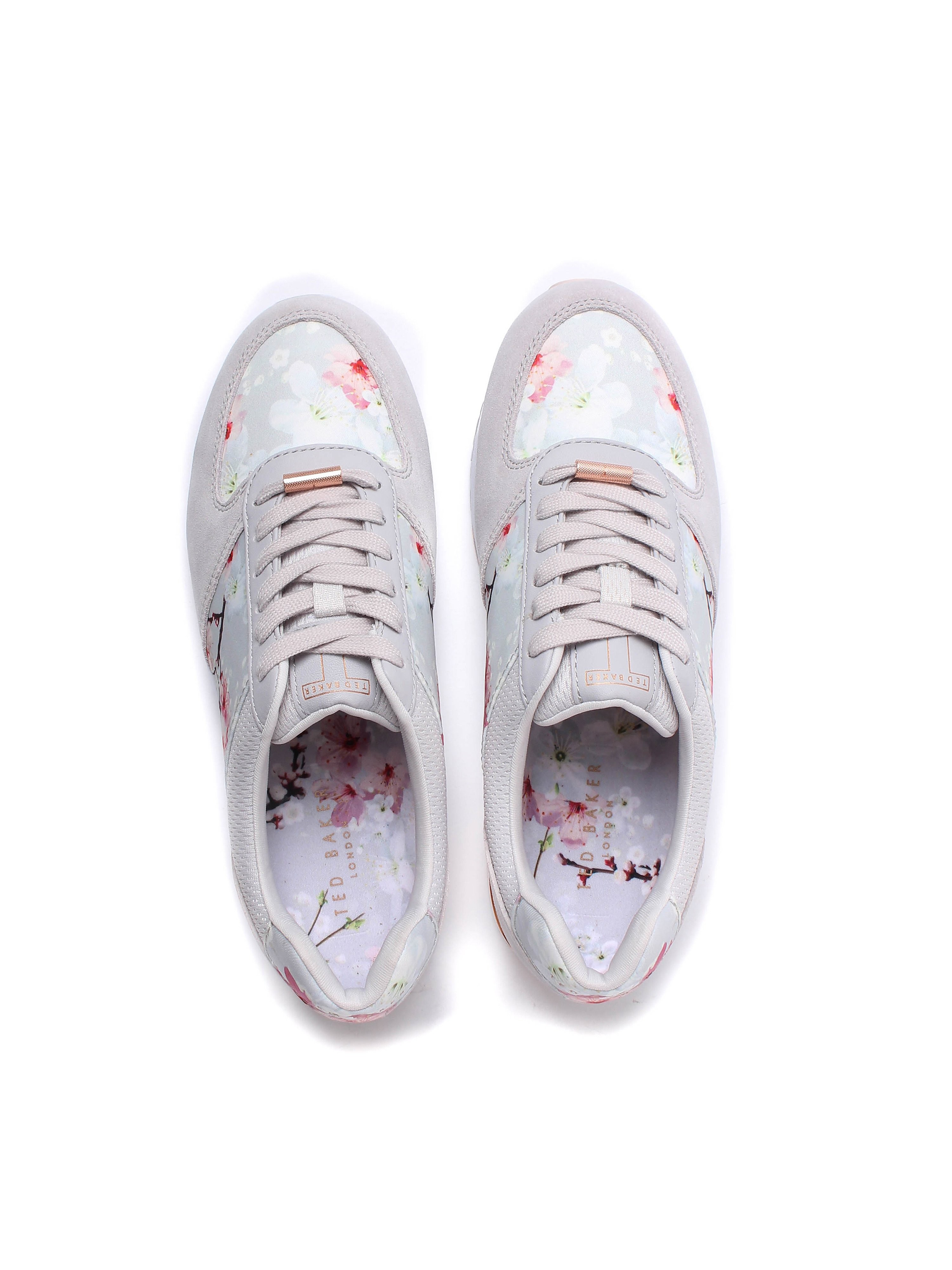 Ted Baker Women's Esmay Oriental Blossom Trainers - Light Grey