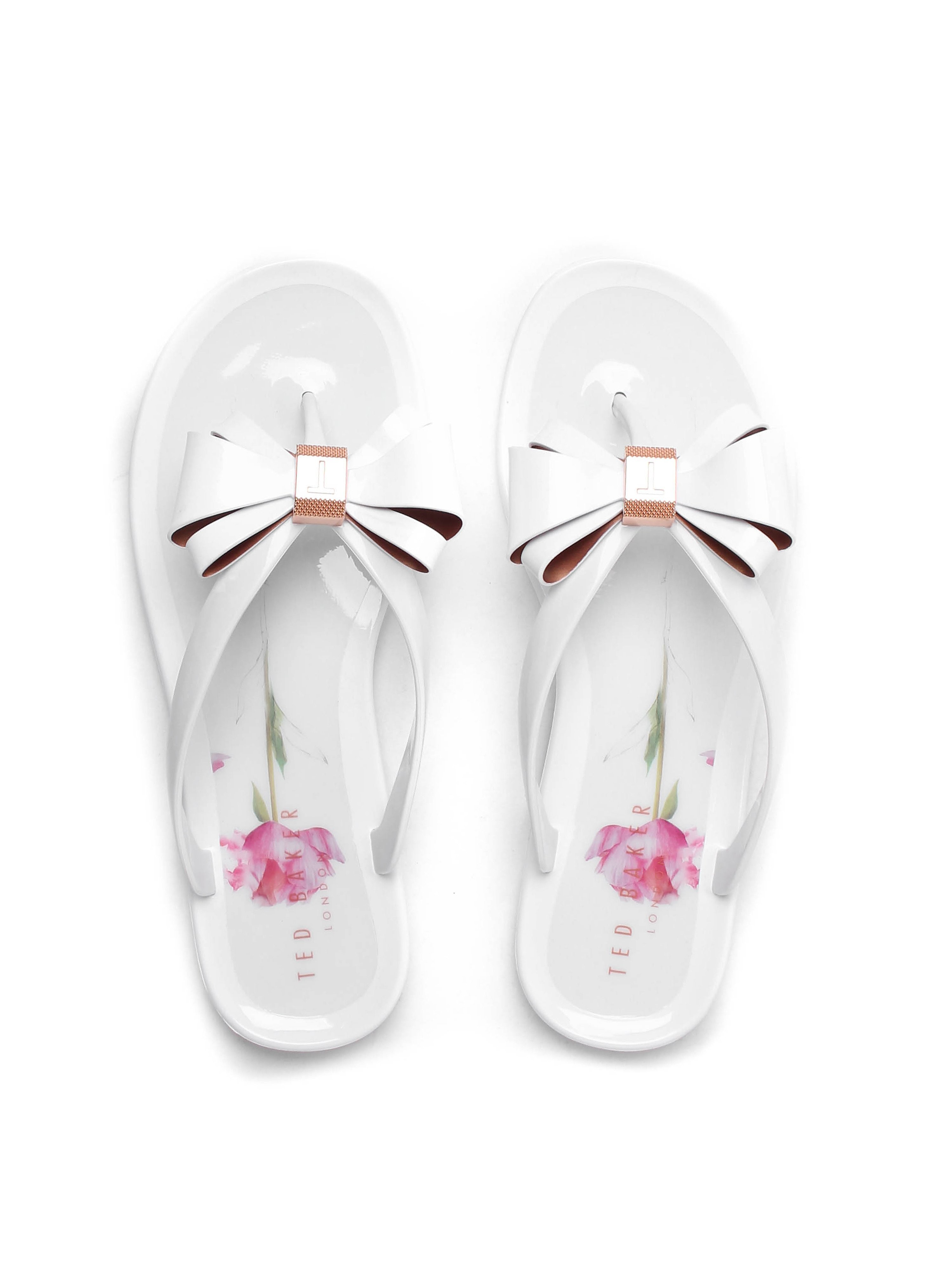Ted Baker Women's Rueday Oriental Bloom Jelly Bow Flip Flops - Sketchbook White