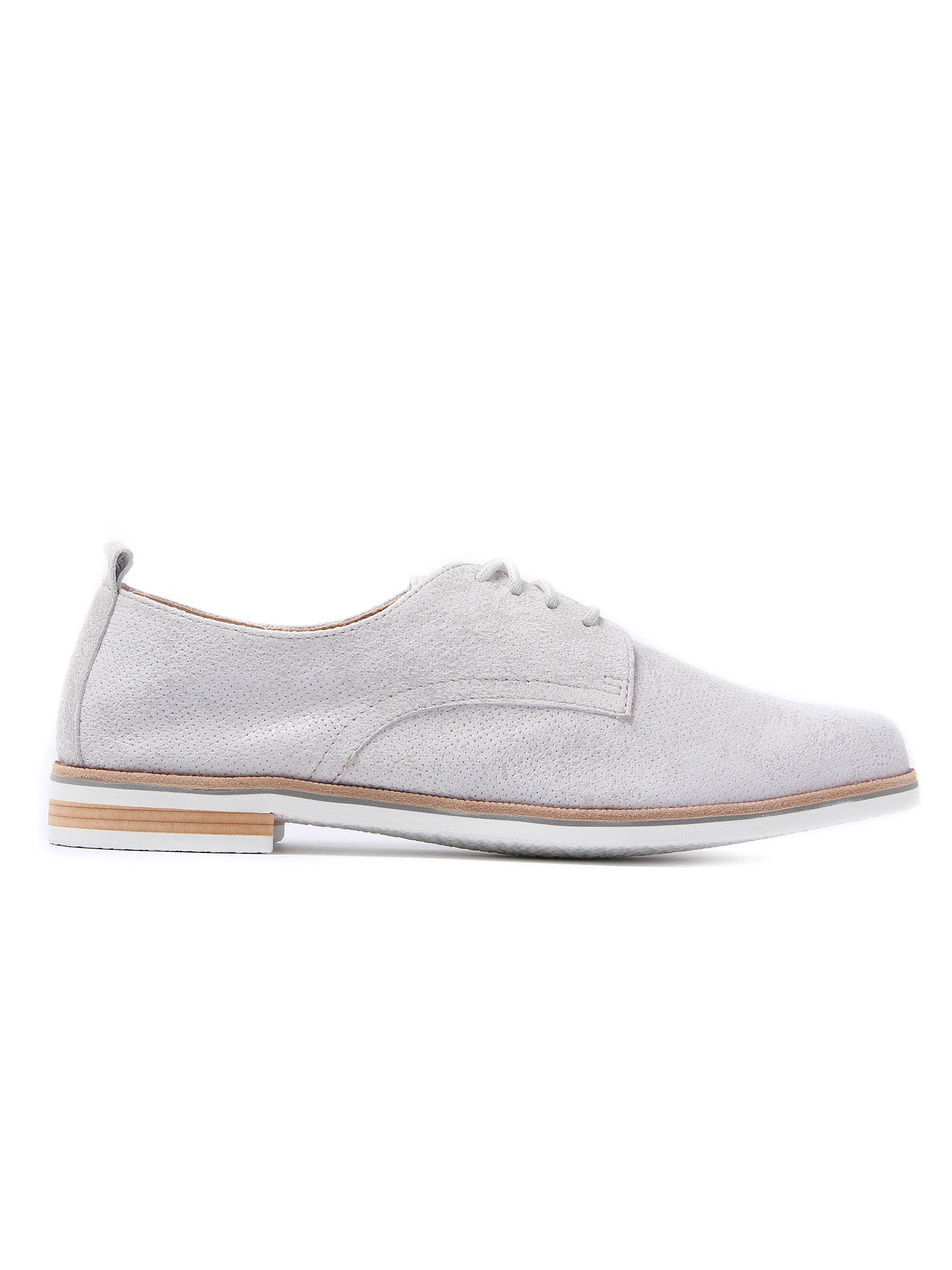 Caprice Women's Perforated Leather Derby Shoes - Light Grey