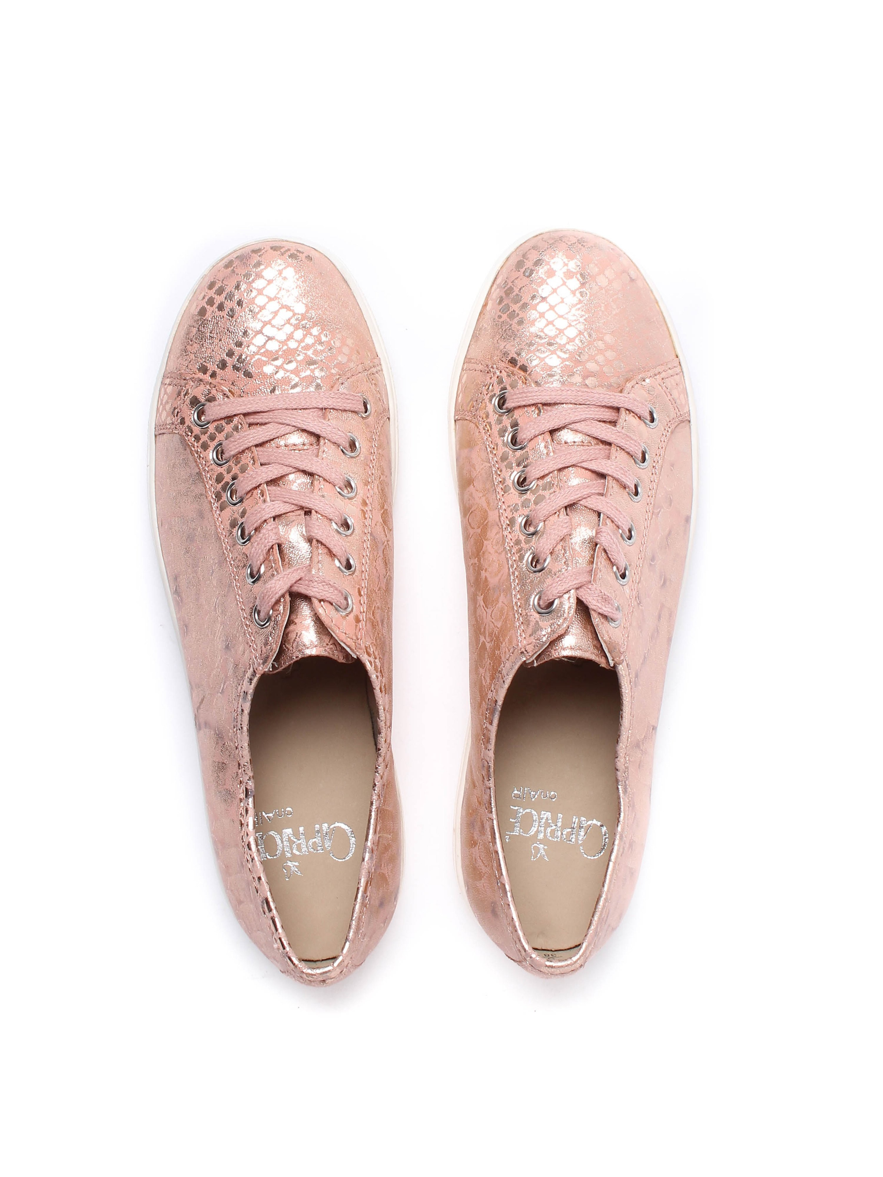 Caprice Women's Snake Effect Leather Trainers - Rose Metallic