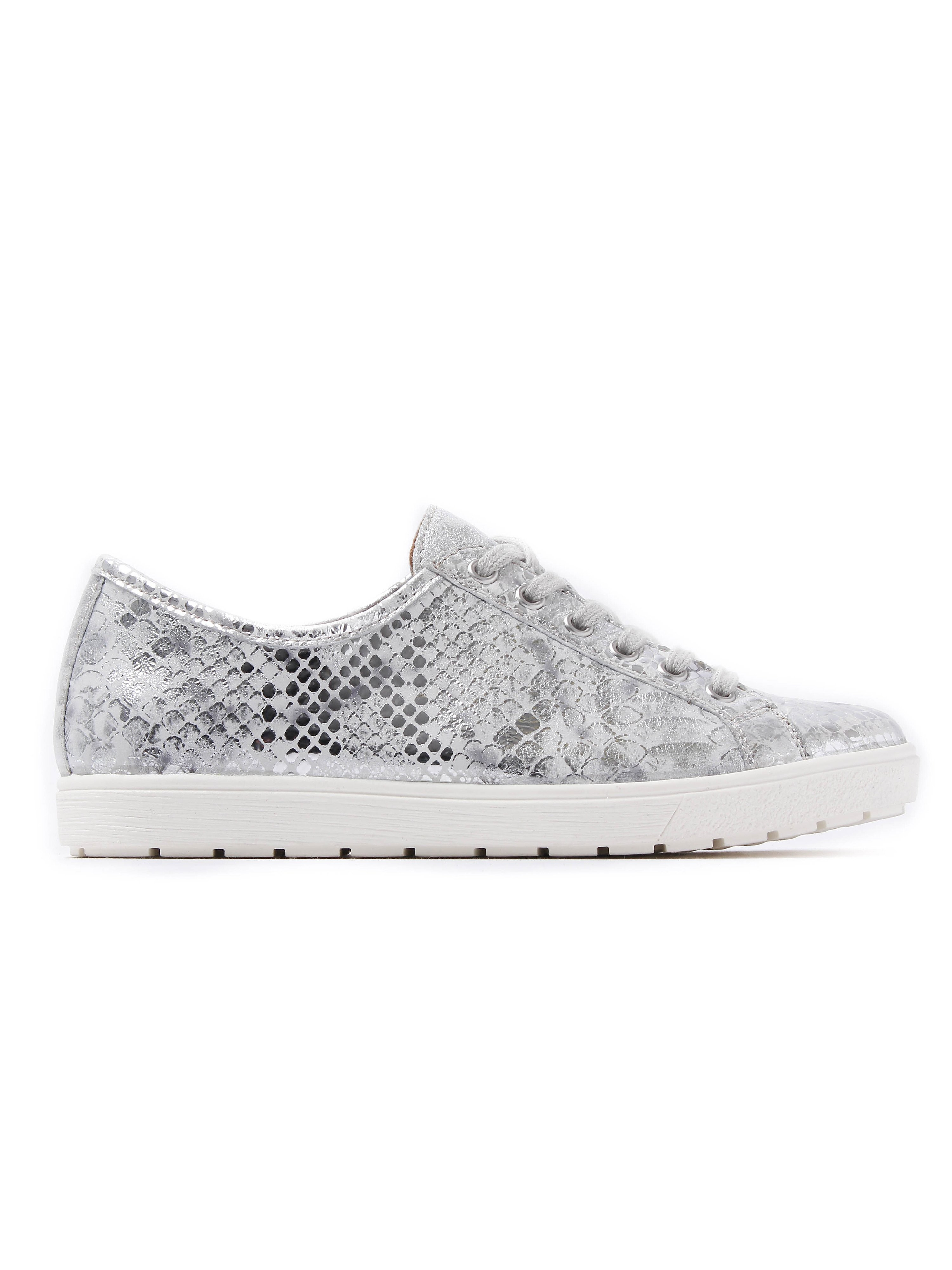 Caprice Women's Snake Effect Leather Trainers - Silver Metallic