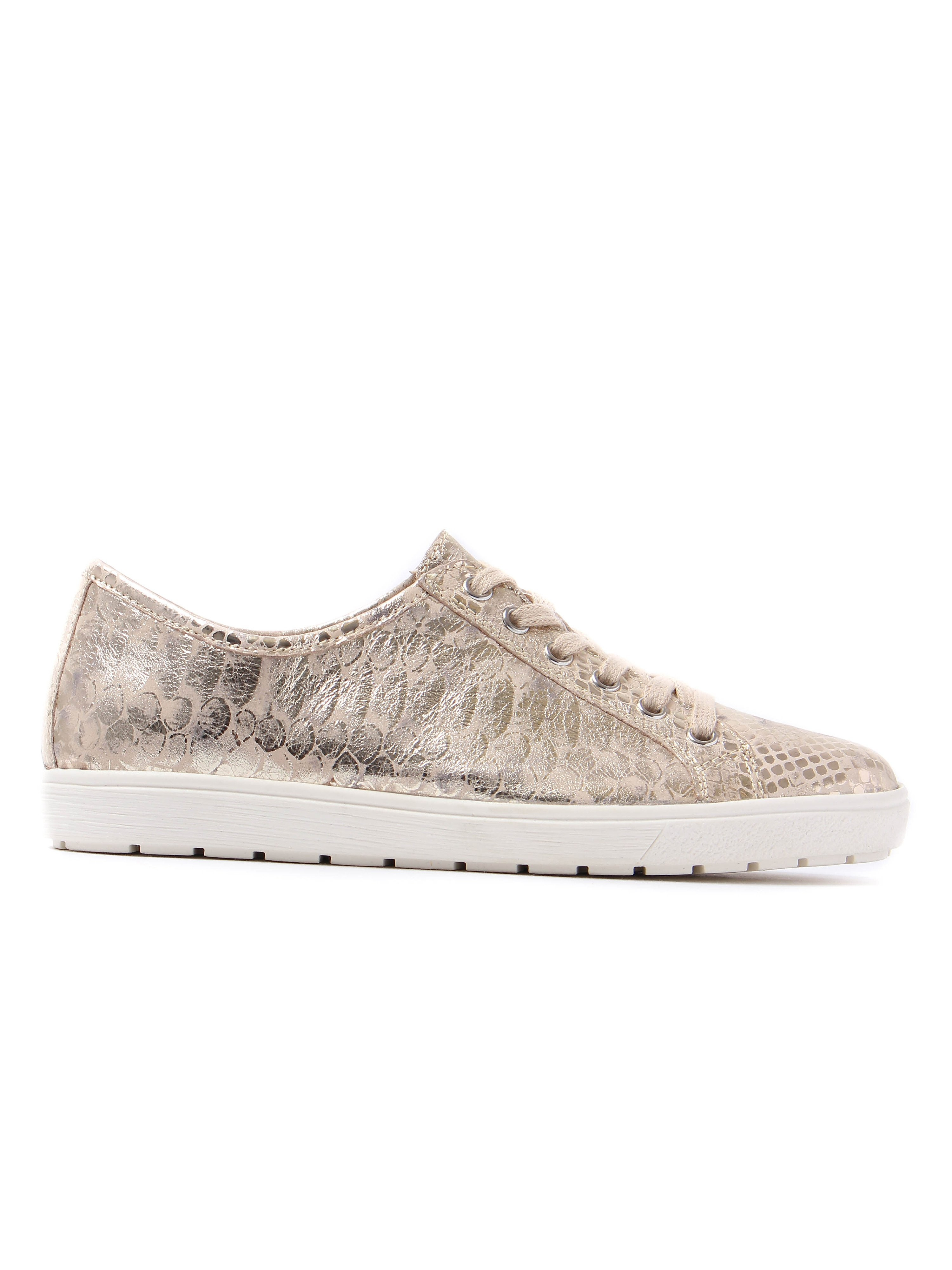 Caprice Women's Snake Effect Leather Trainers - Gold Metallic