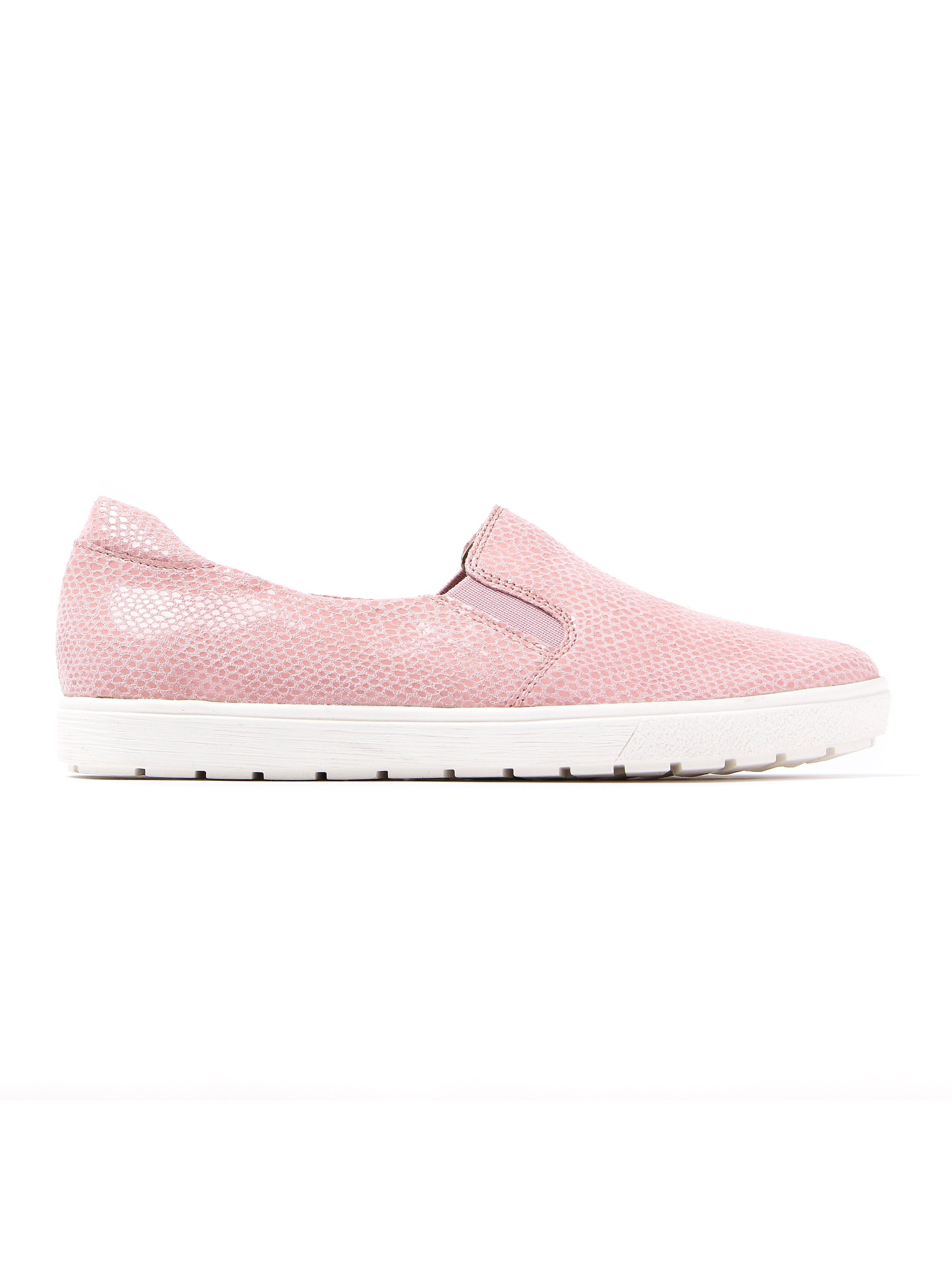 Caprice Women's Snake Effect Leather Slip-on Trainers - Rose Reptile