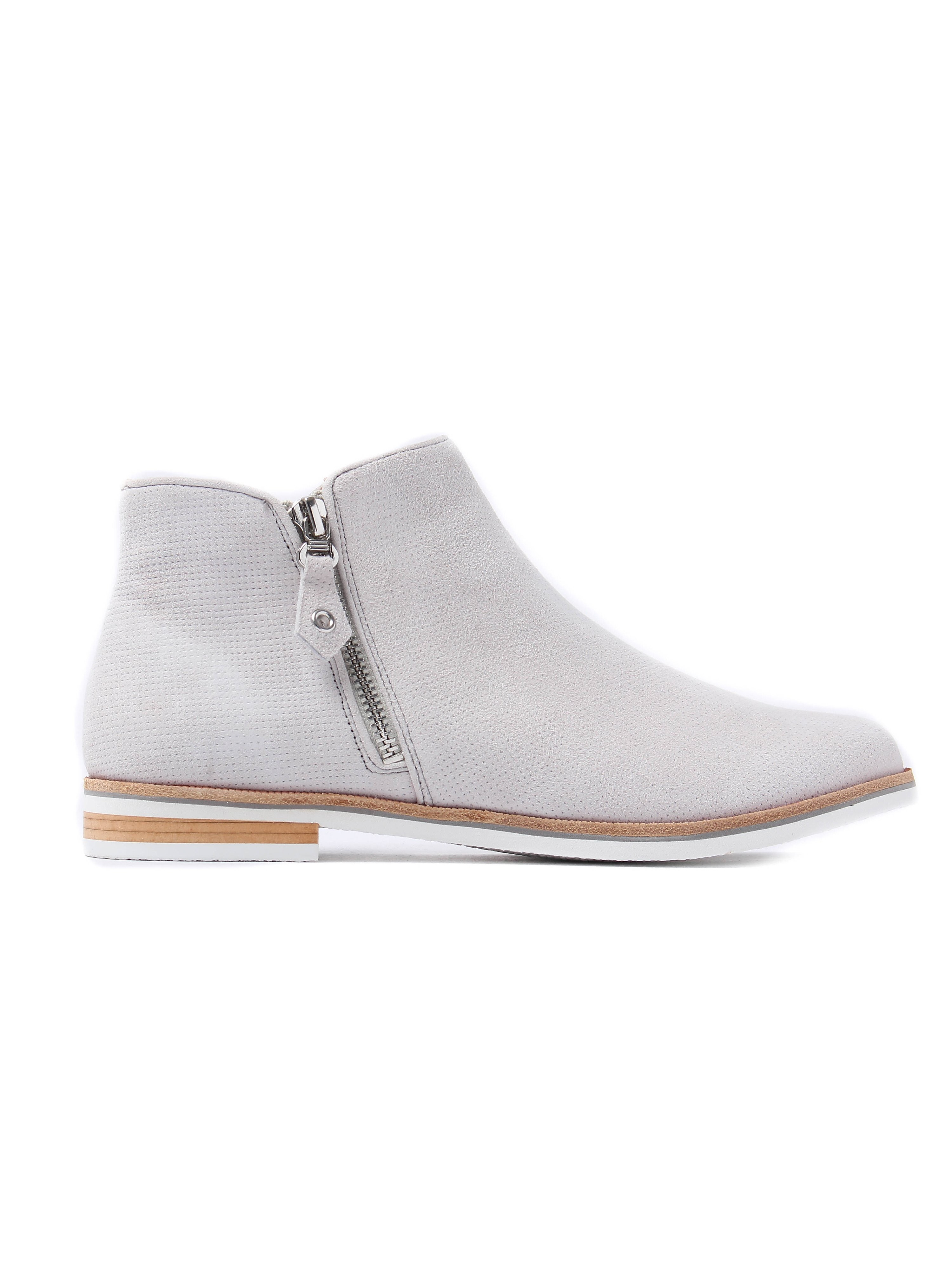 Caprice Women's Perforated Suede Size Zip Ankle Boots - Light Grey