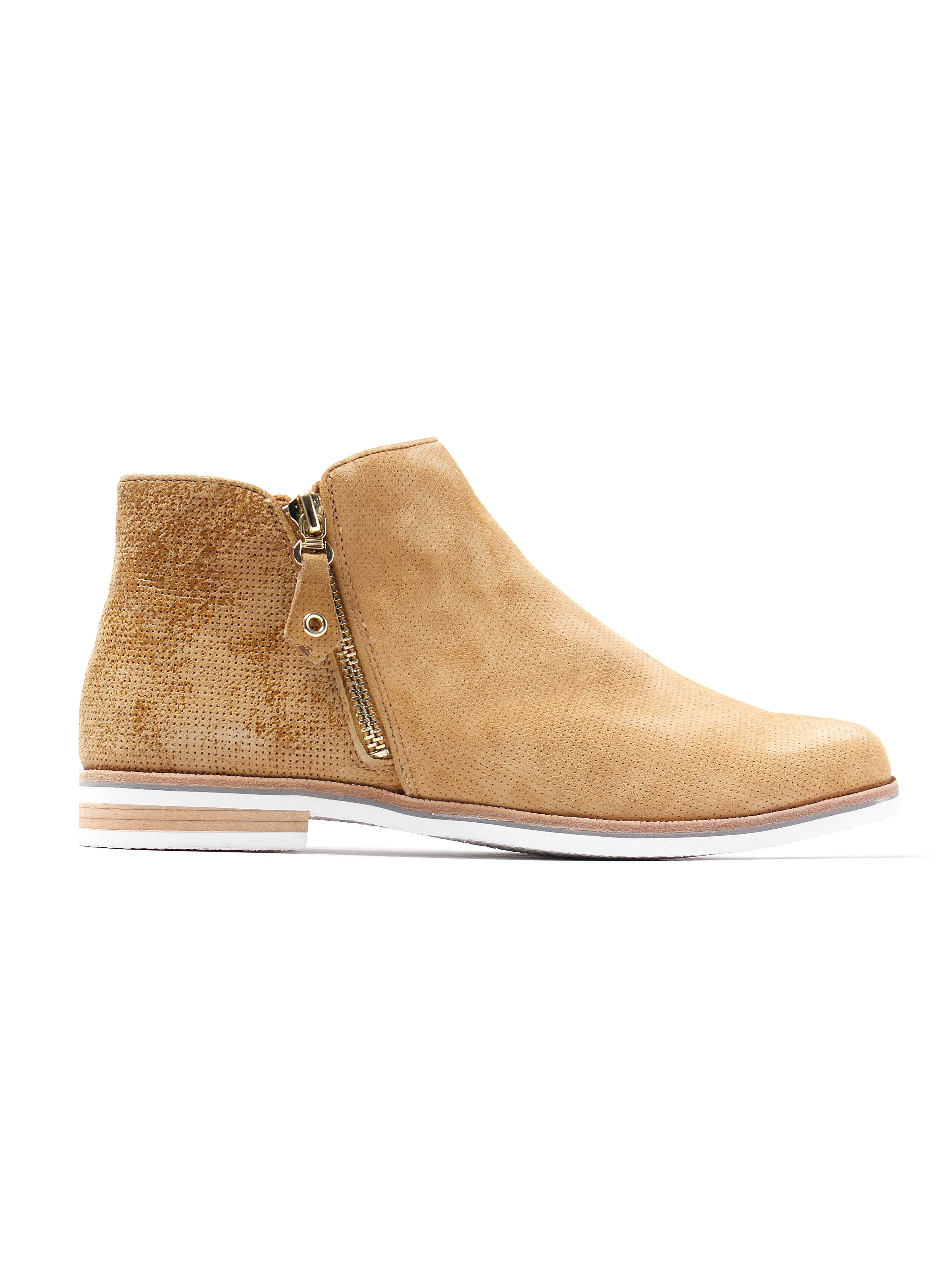 Caprice Women's Perforated Suede Size Zip Ankle Boots - Saffron Comb