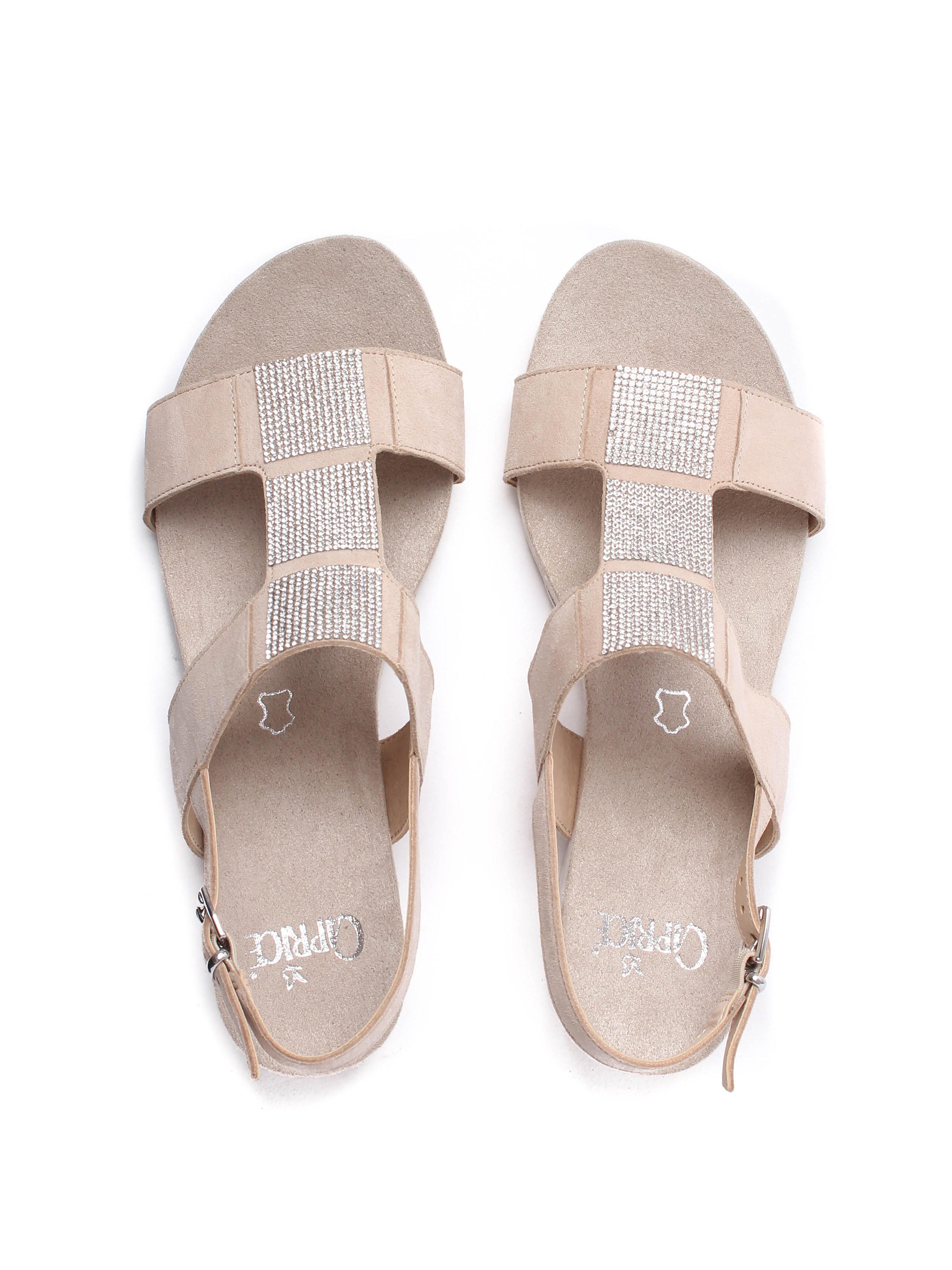 Caprice Women's Glitter Suede Wedge Sandals - Beige