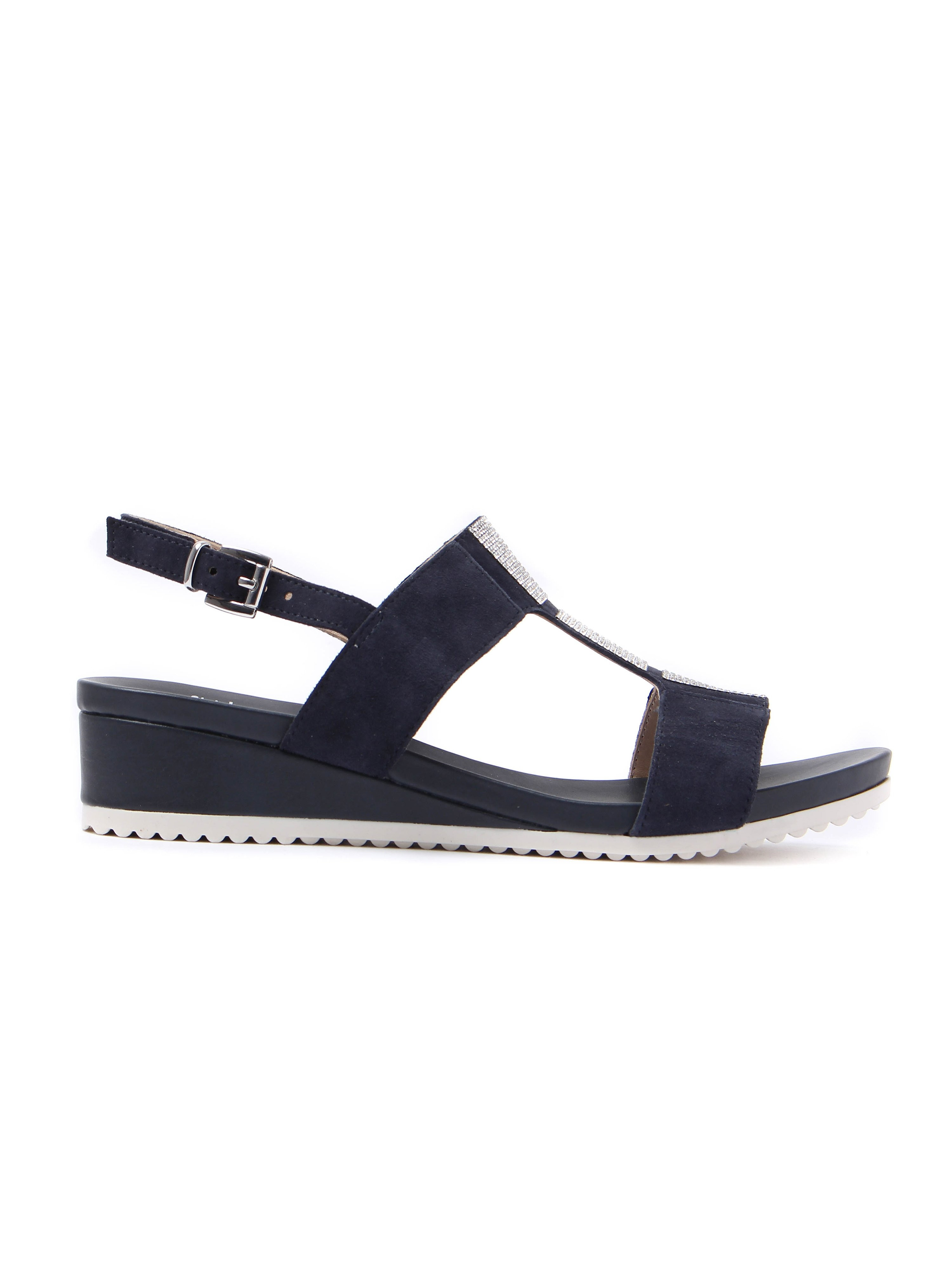 Caprice Women's Glitter Suede Wedge Sandals - Ocean