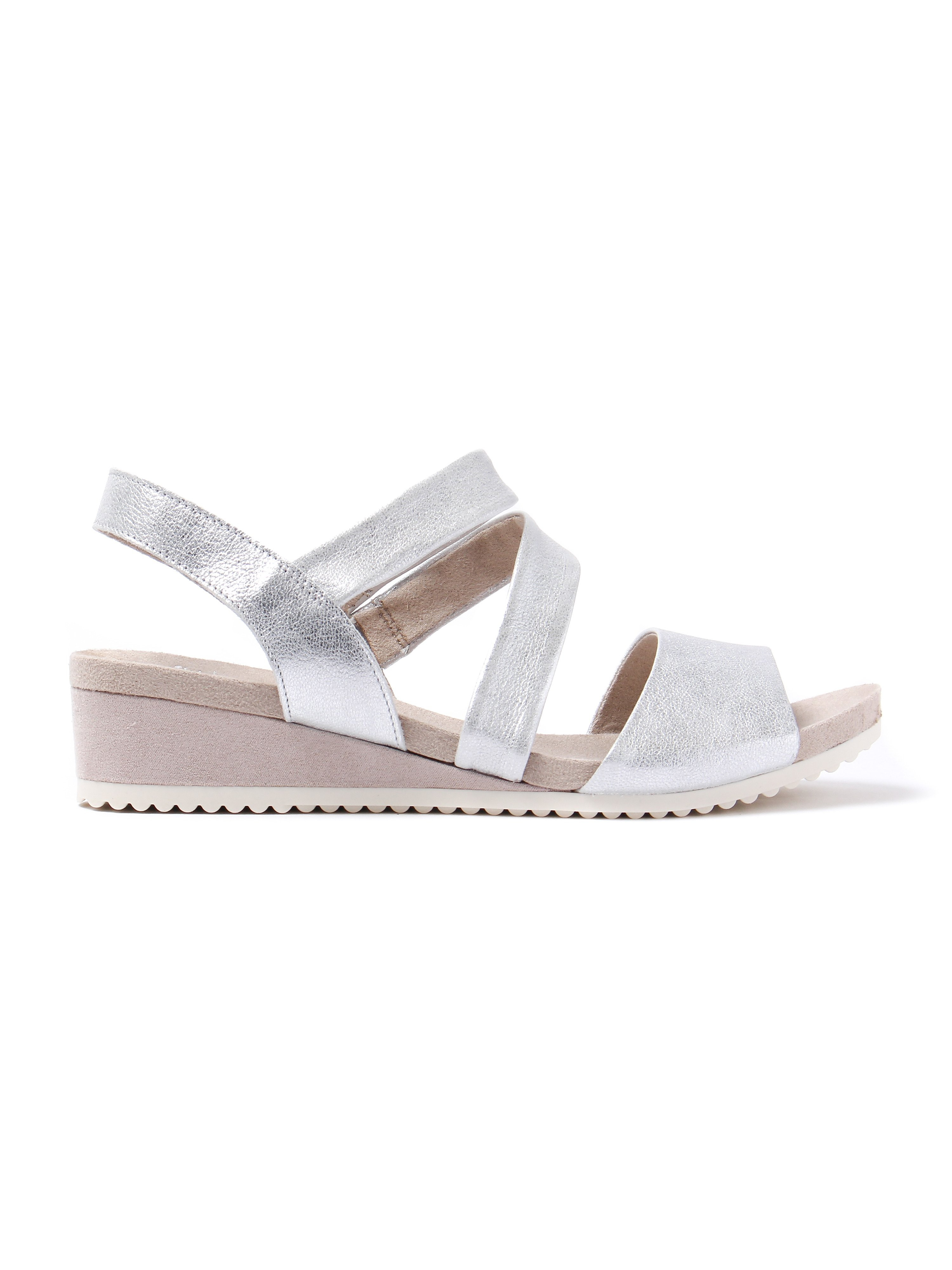 Caprice Women's Cross Strap Leather Wedge Sandals - Silver