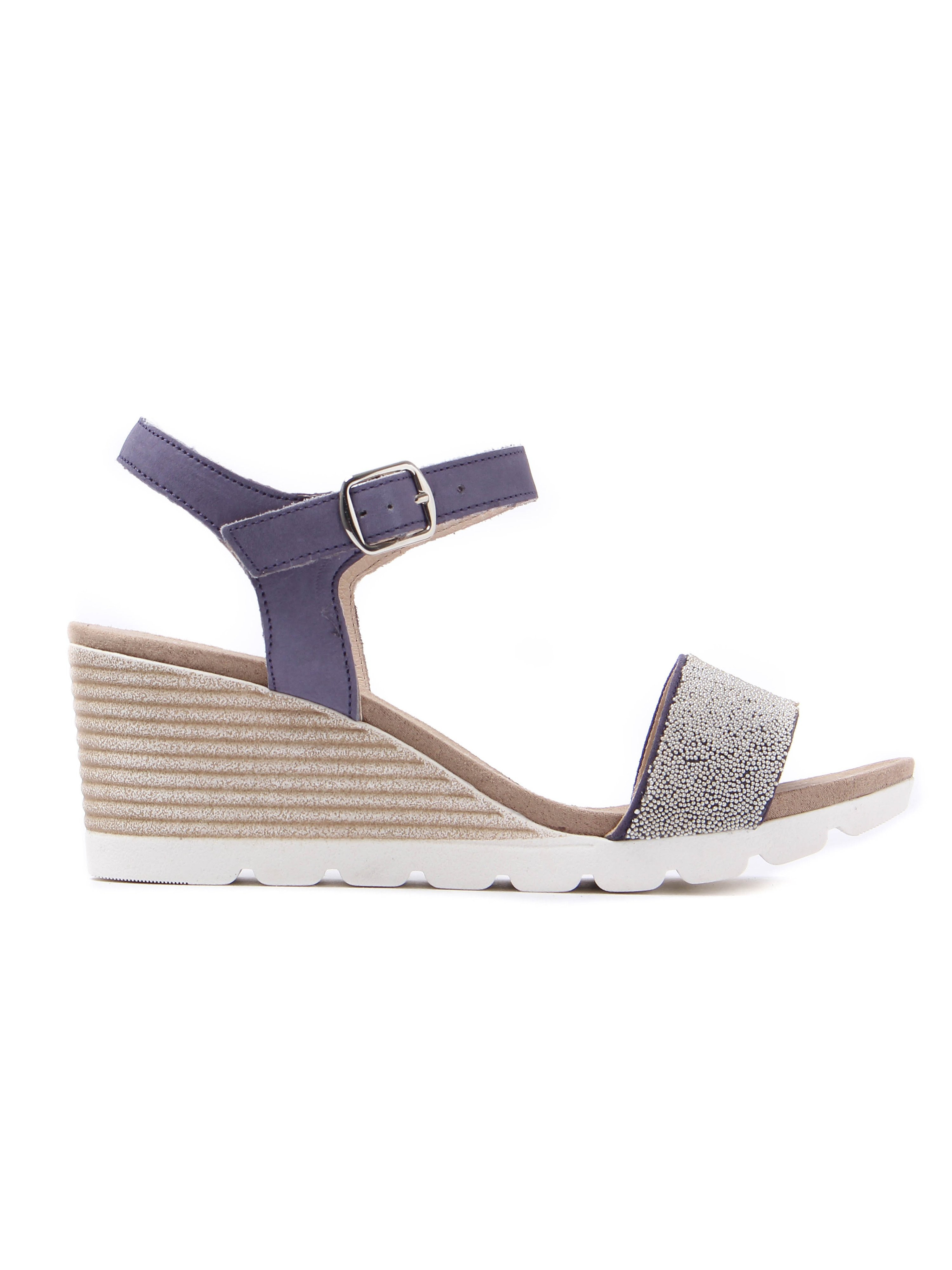 Caprice Women's Beaded Leather Wedge Sandals - Navy