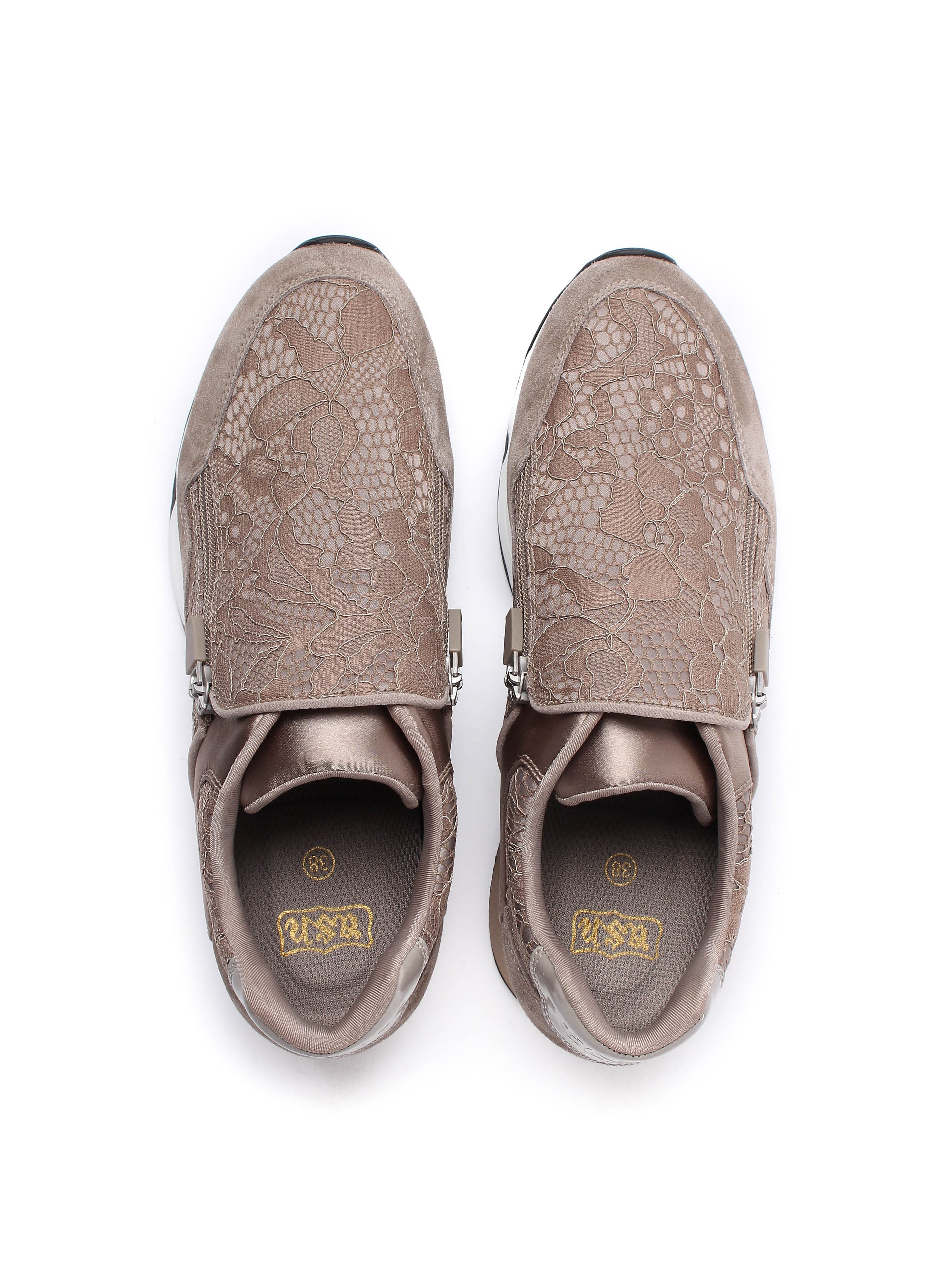 Ash Women's Look Lace Satin & Suede Trainers - Taupe