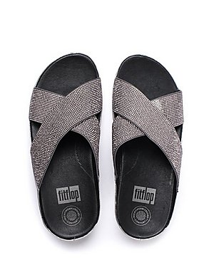 7cbe7912d012 ... FitFlop Women s Crystall Slide Cross Strap Sandals - Pewter