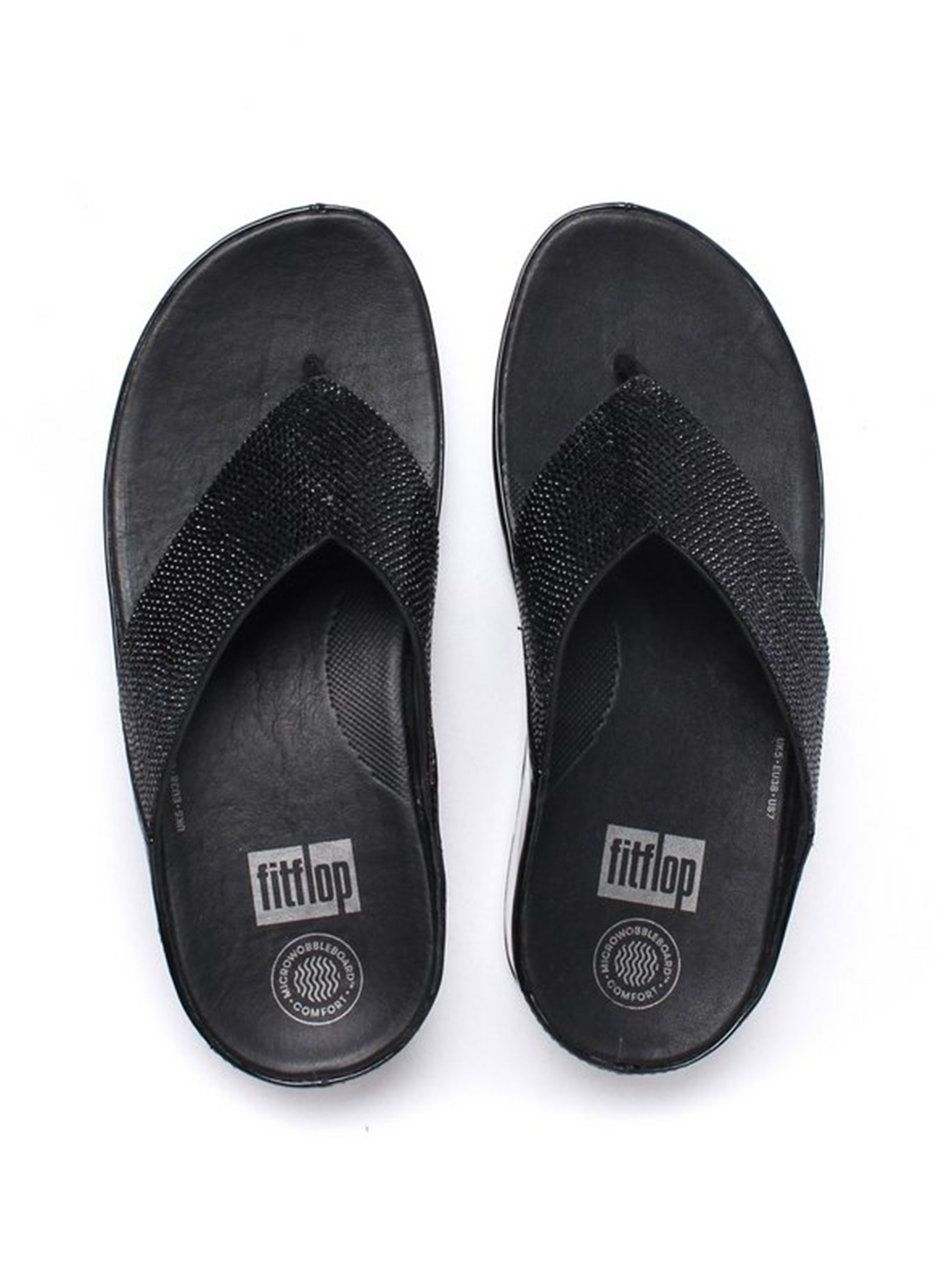 FitFlop Women's Crystall Toe-Post Slip On Sandals - Black