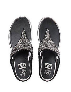 cf2eb232c55c37 ... FitFlop Women s Banda Roxy Crystal Toe-Post Sandals - Pewter