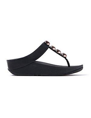 5a914c0ed742b FitFlop Women s Rola Leather Toe-Post Sandals - Black ...