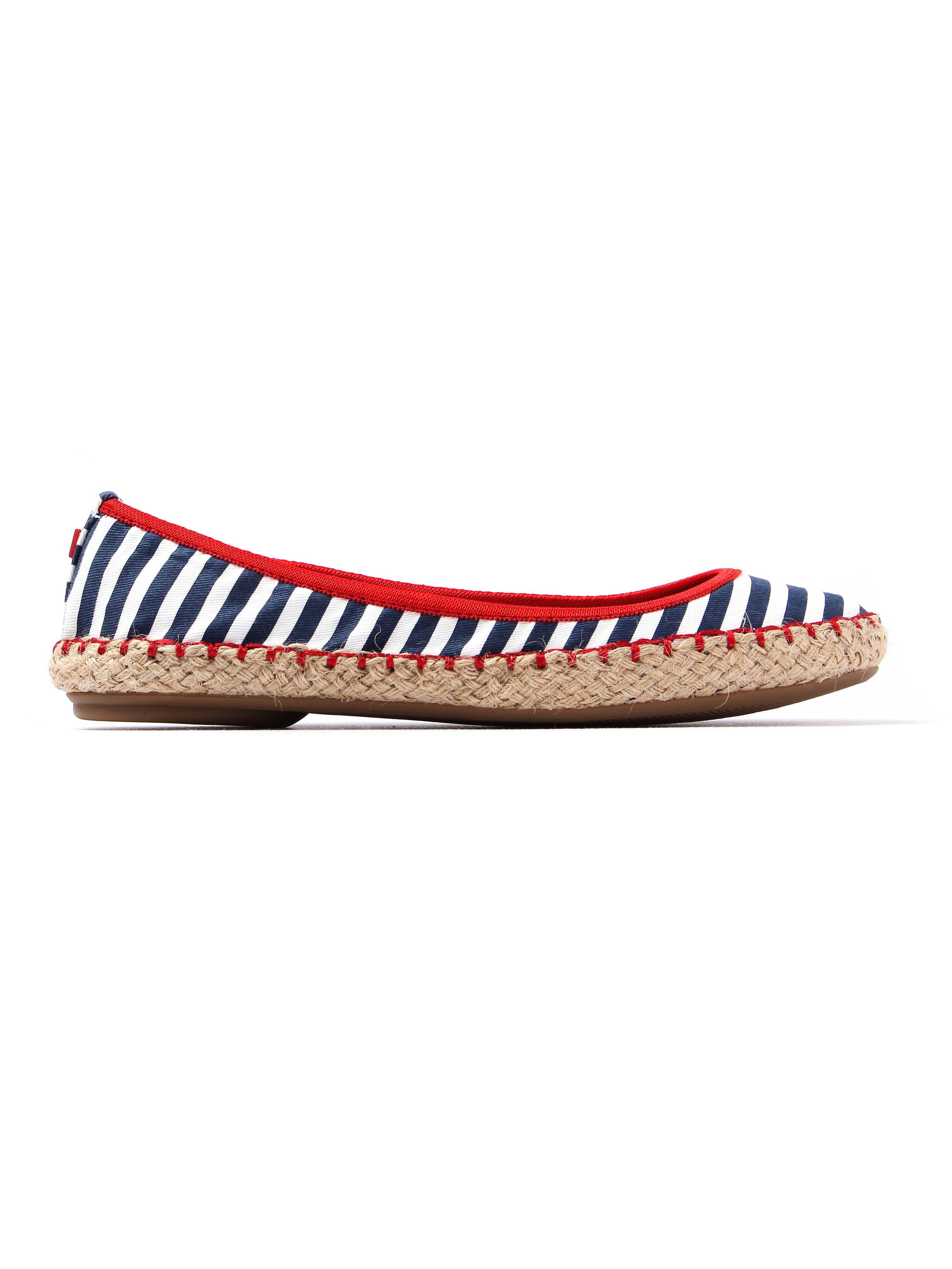 Butterfly Twists Women's Gigi Striped Foldable Ballerina Pumps - Navy & White