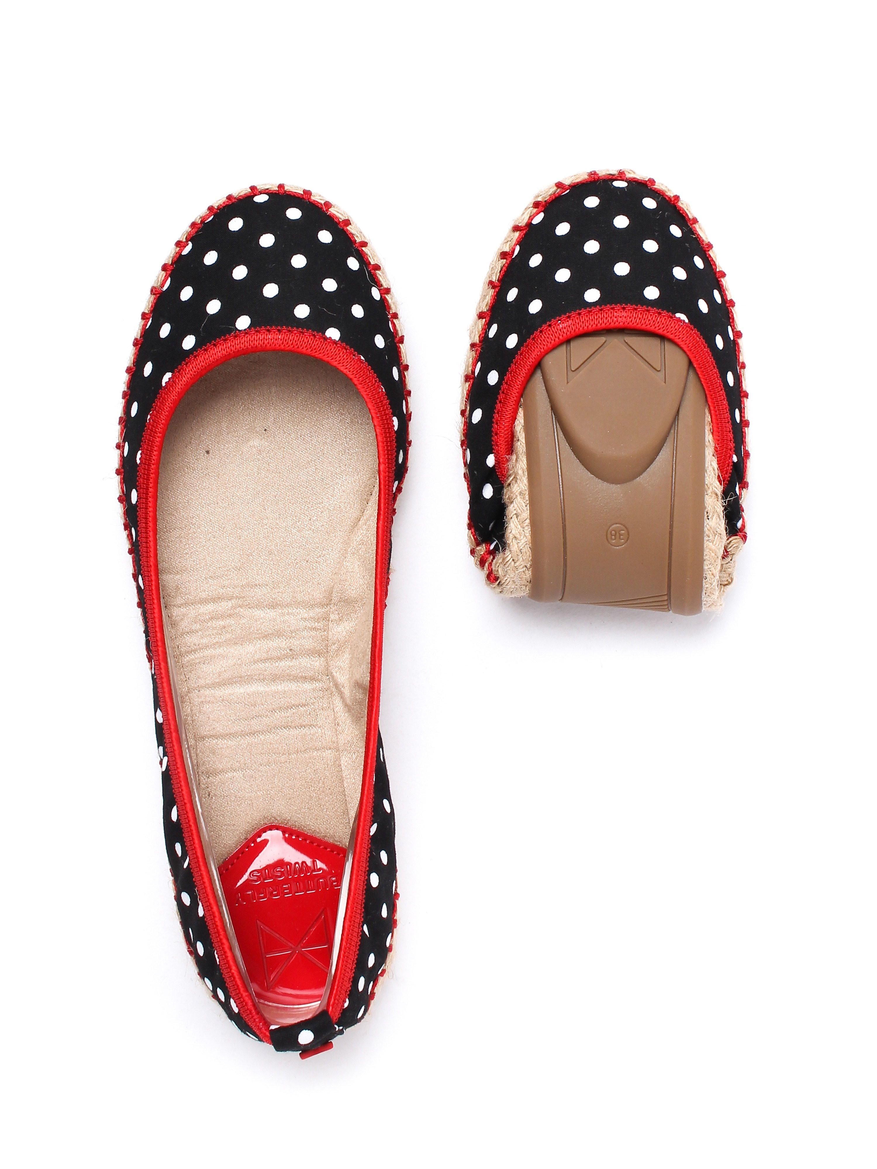 Butterfly Twists Women's Gigi Polka Dot Foldable Ballerina Pumps - Black & White