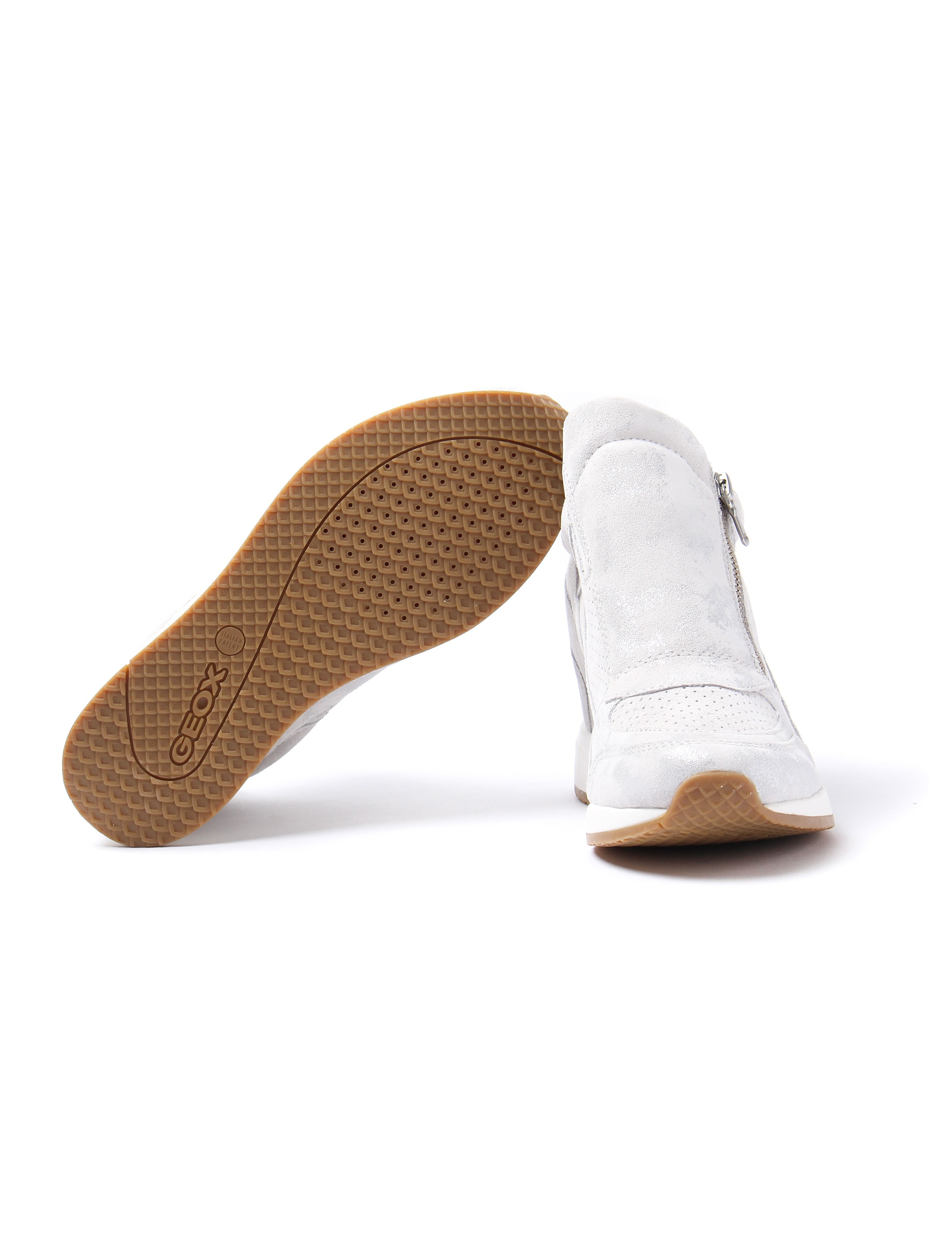 Geox Women's Nydame Suede Wedge Trainers - Off White